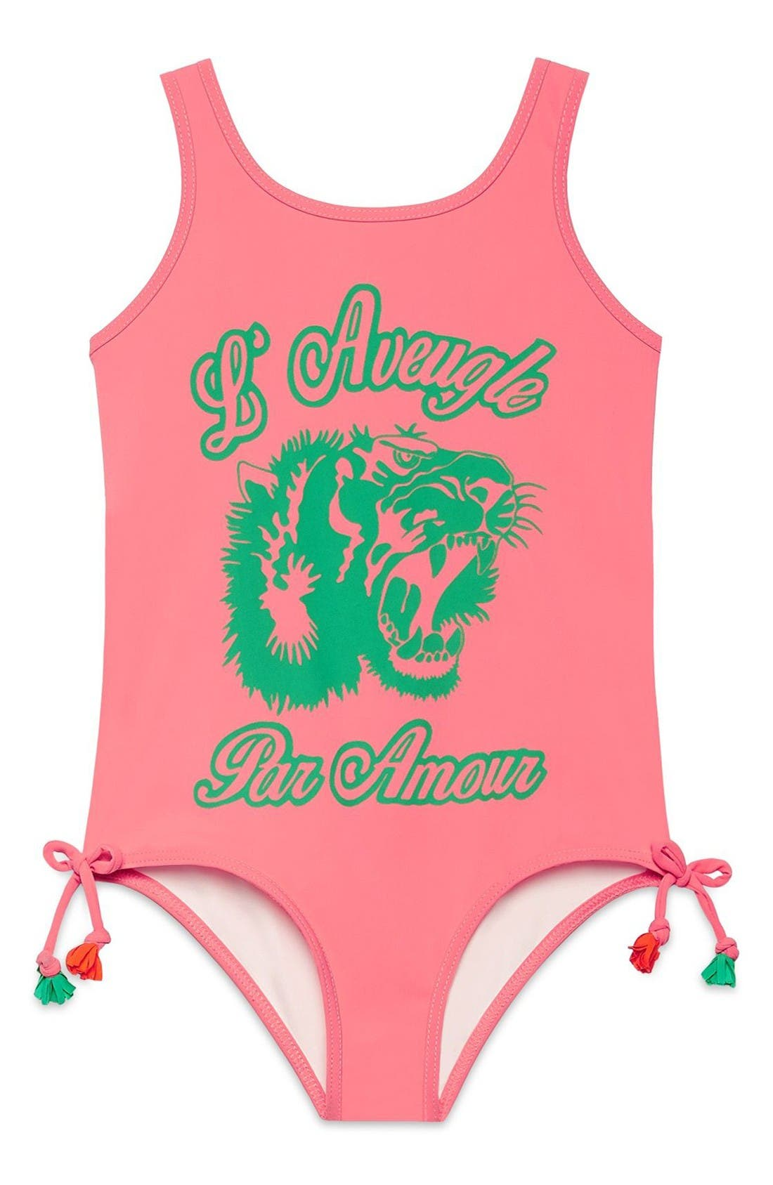 Graphic One-Piece Swimsuit,                         Main,                         color, Peony/ Green