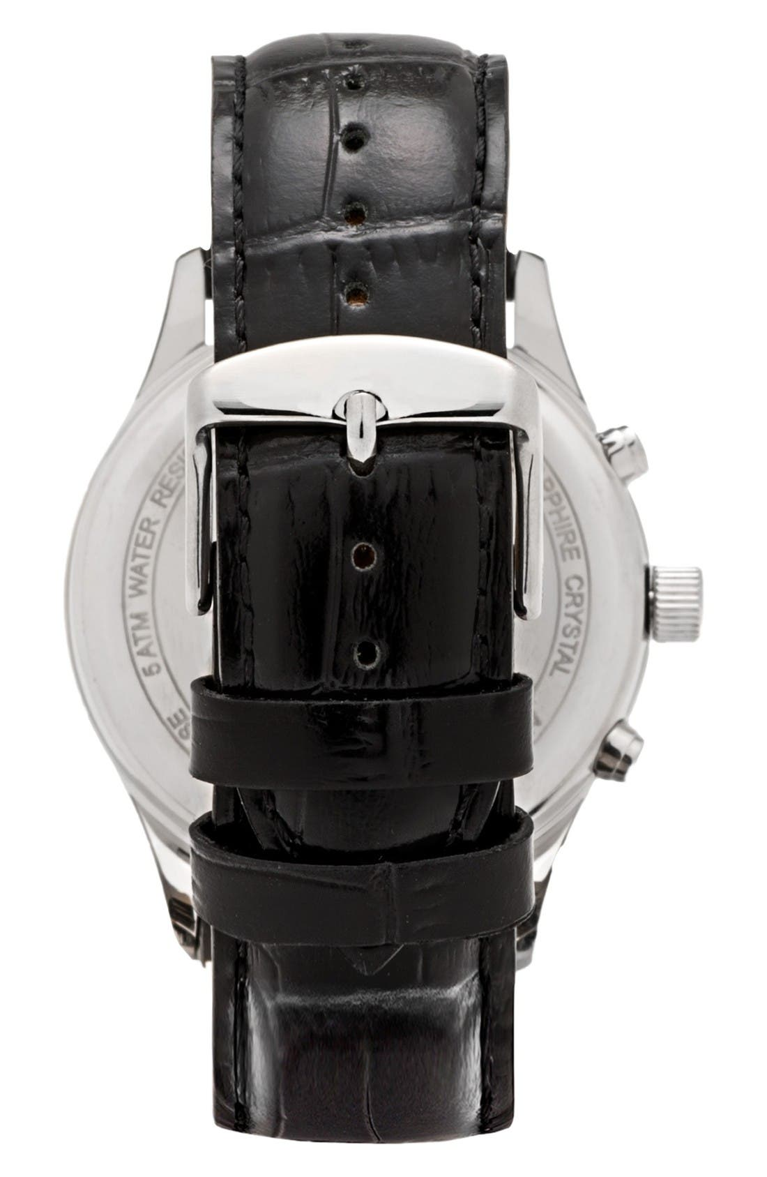 Leonard & Church Barclay Chronograph Leather Strap Watch, 43mm,                             Alternate thumbnail 2, color,                             Black/ Silver