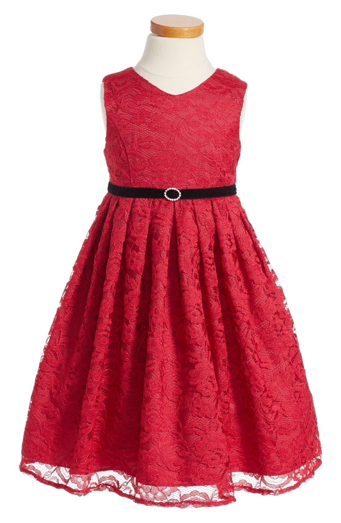 Main Image - Pippa & Julie Lace Empire Waist Dress (Toddler Girls, Little Girls and Big Girls)