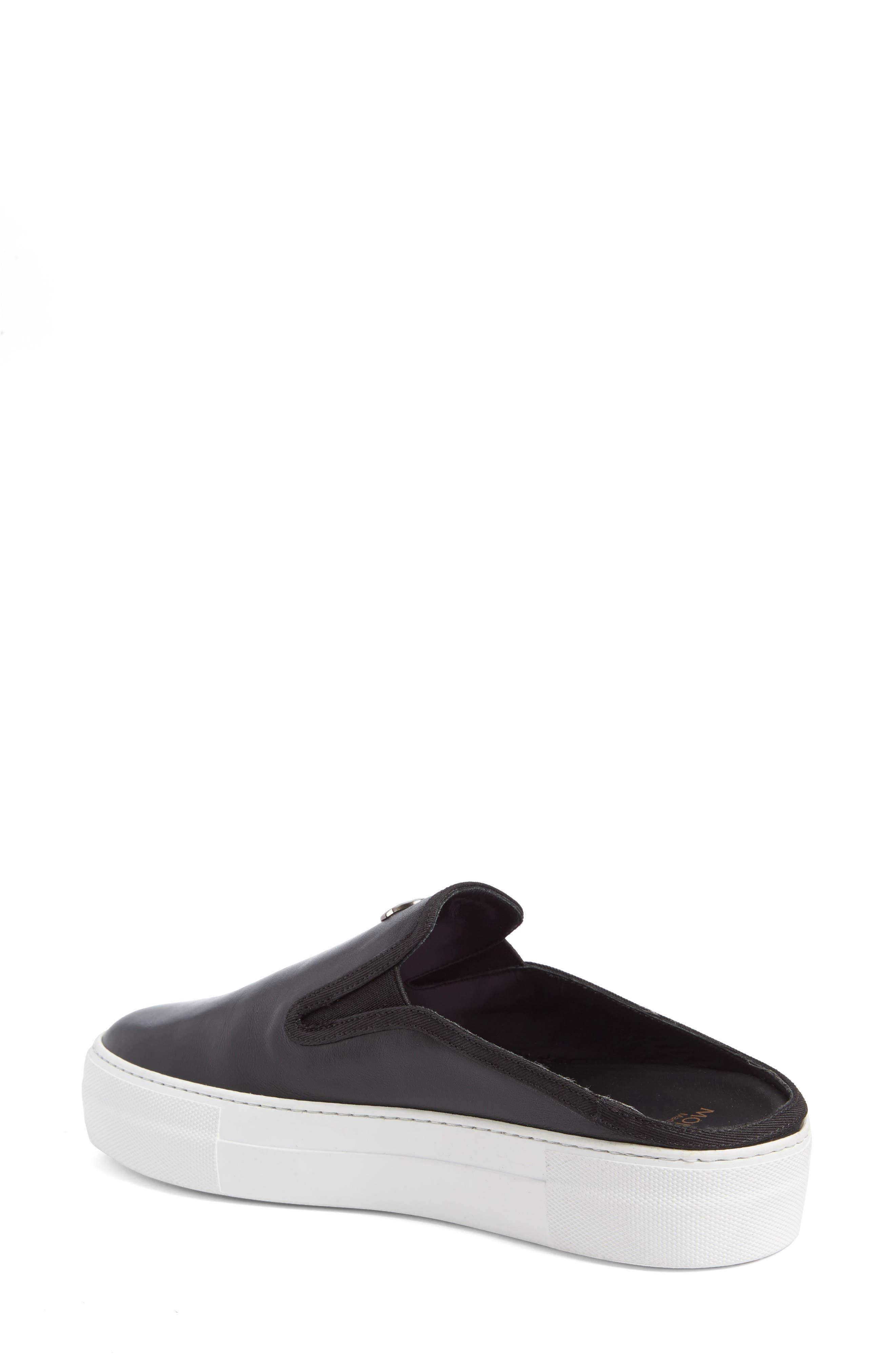 Tiphanie Backless Platform Sneaker,                             Alternate thumbnail 2, color,                             Black Leather