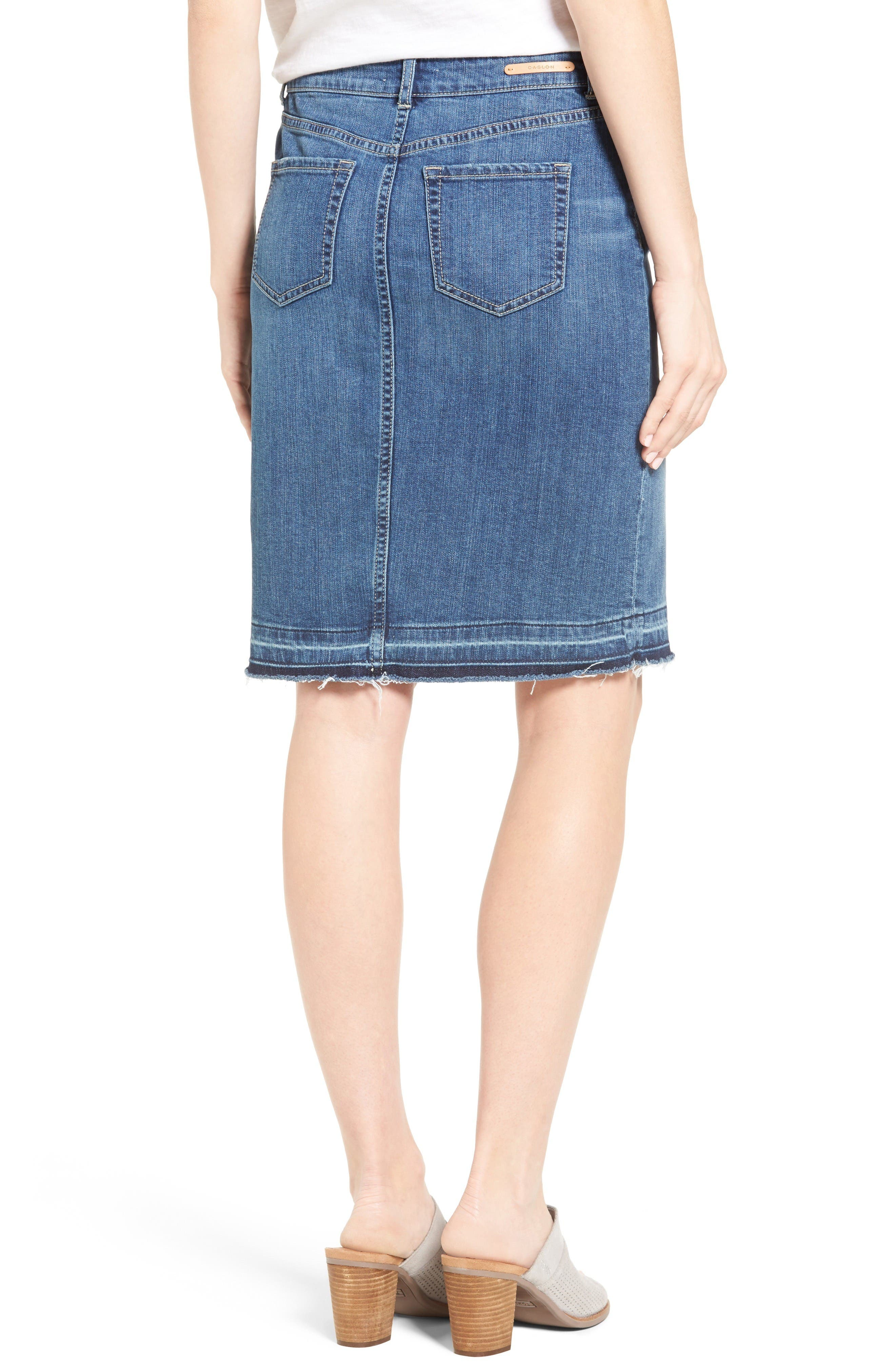 Alternate Image 2  - Caslon® Release Hem Denim Pencil Skirt