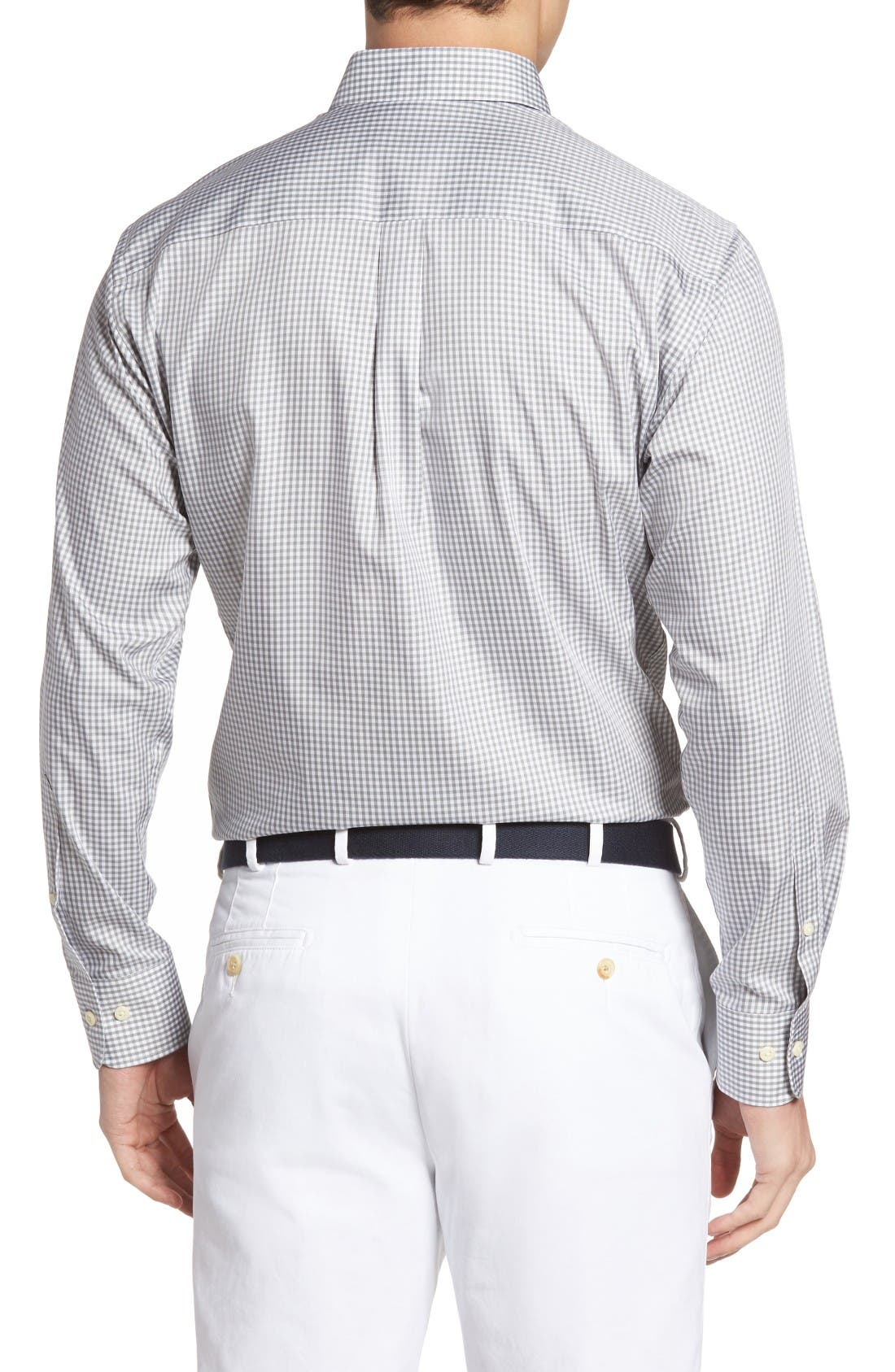 Crown Soft Gingham Regular Fit Sport Shirt,                             Alternate thumbnail 2, color,                             Light Grey
