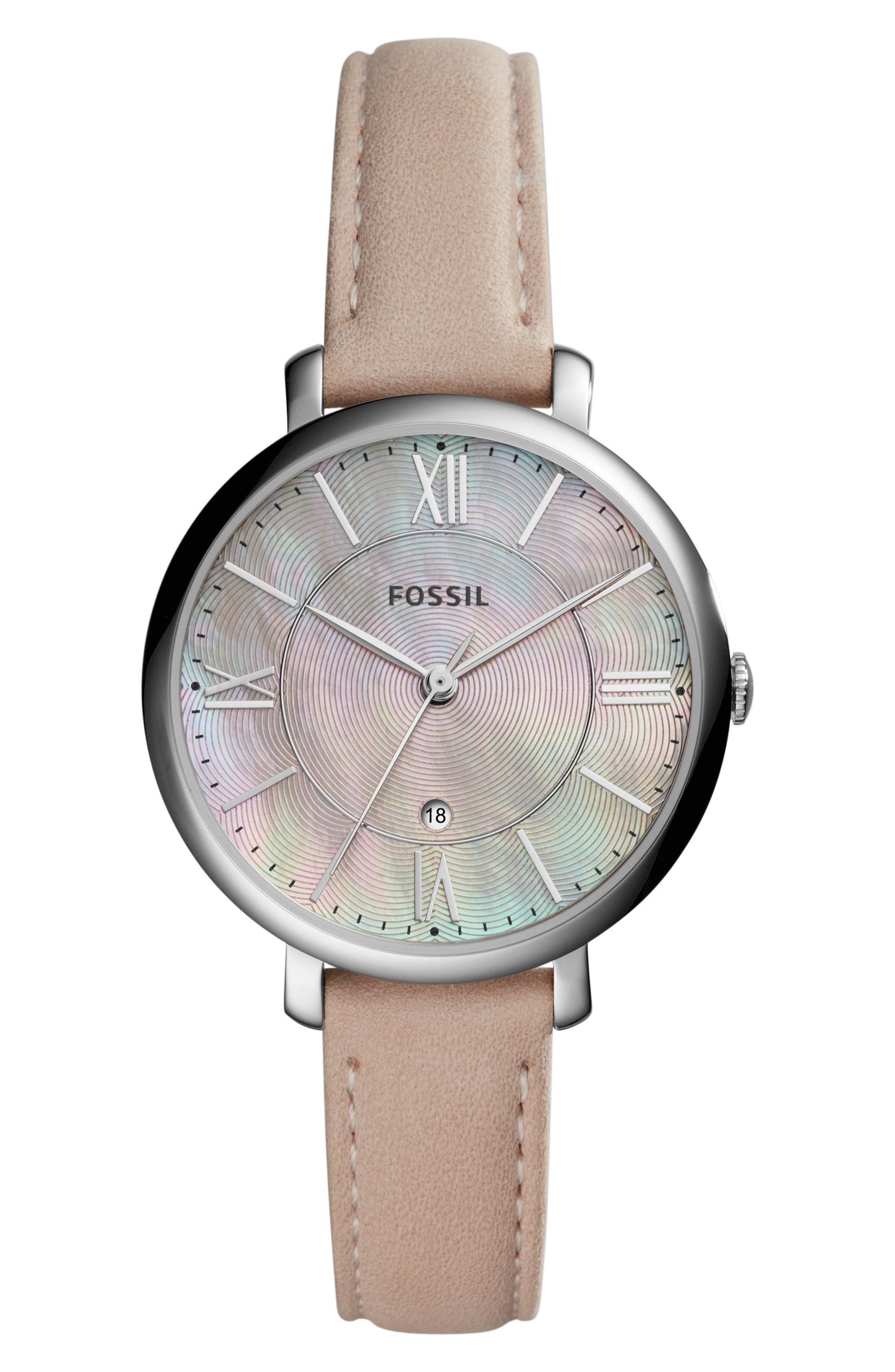 Jacqueline Leather Strap Watch, 36mm,                         Main,                         color, Blush/ Pink Mother Of Pearl