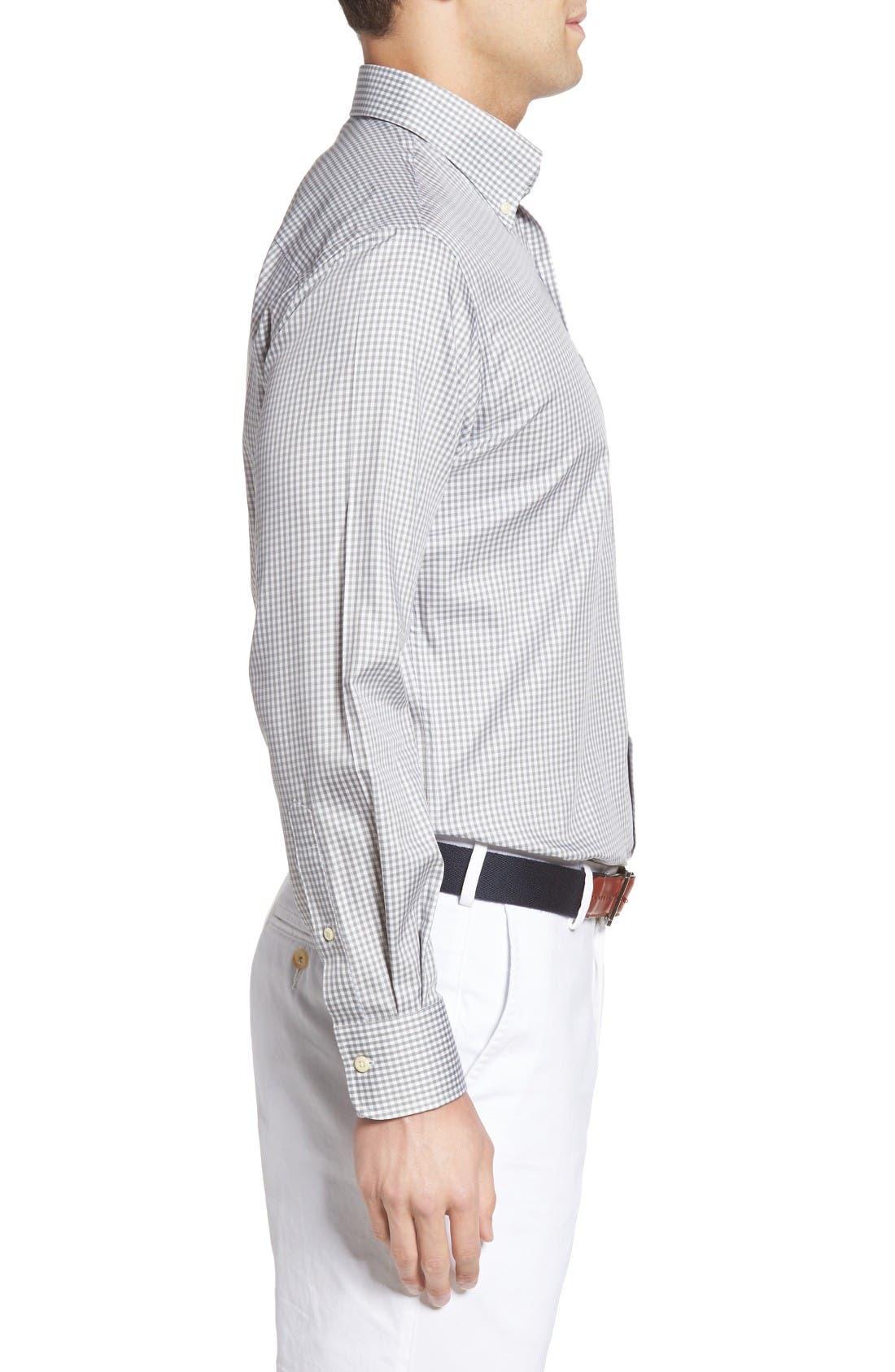 Crown Soft Gingham Regular Fit Sport Shirt,                             Alternate thumbnail 3, color,                             Light Grey