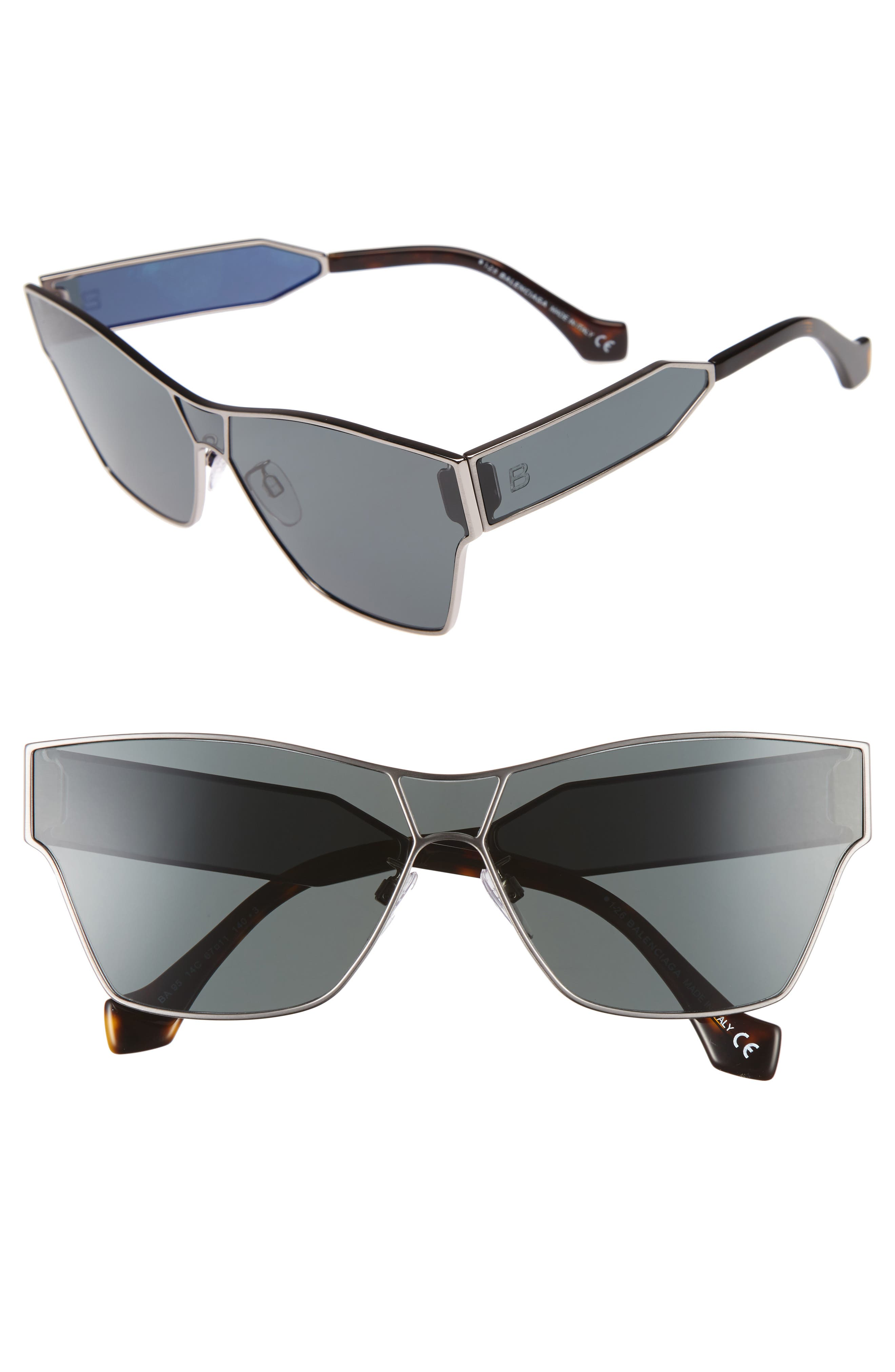 67mm Sunglasses,                         Main,                         color, Ruthenium Front/ Dark Havana