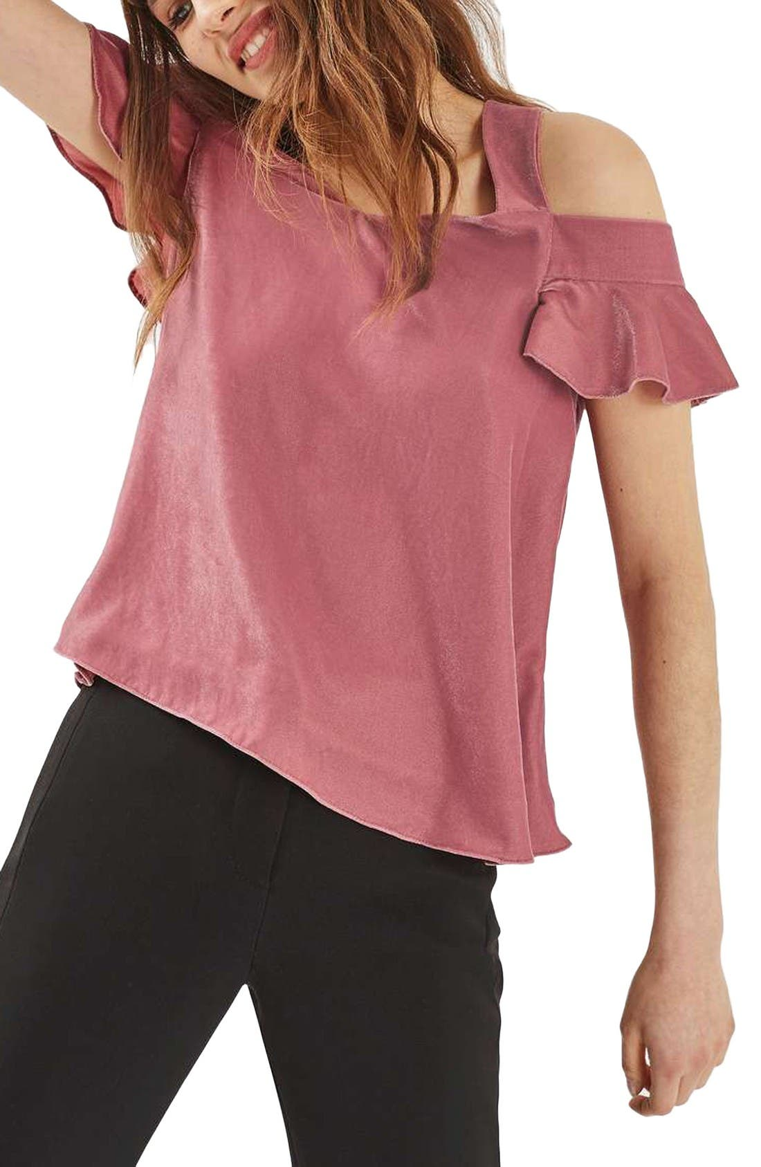 Alternate Image 1 Selected - Topshop Polly Bardot Velvet Top (Regular & Petite)