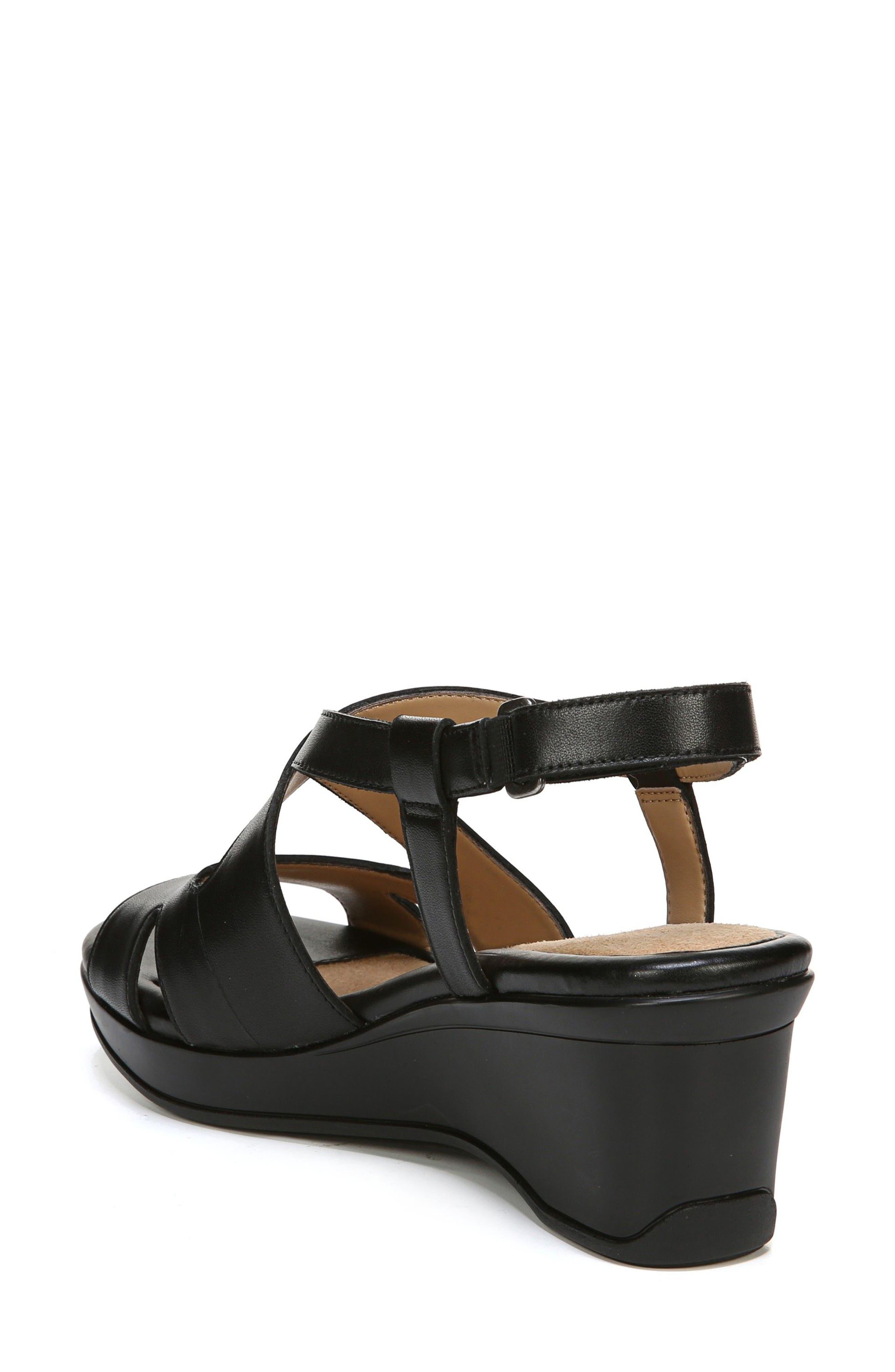 Vilette Wedge Sandal,                             Alternate thumbnail 2, color,                             Black Leather