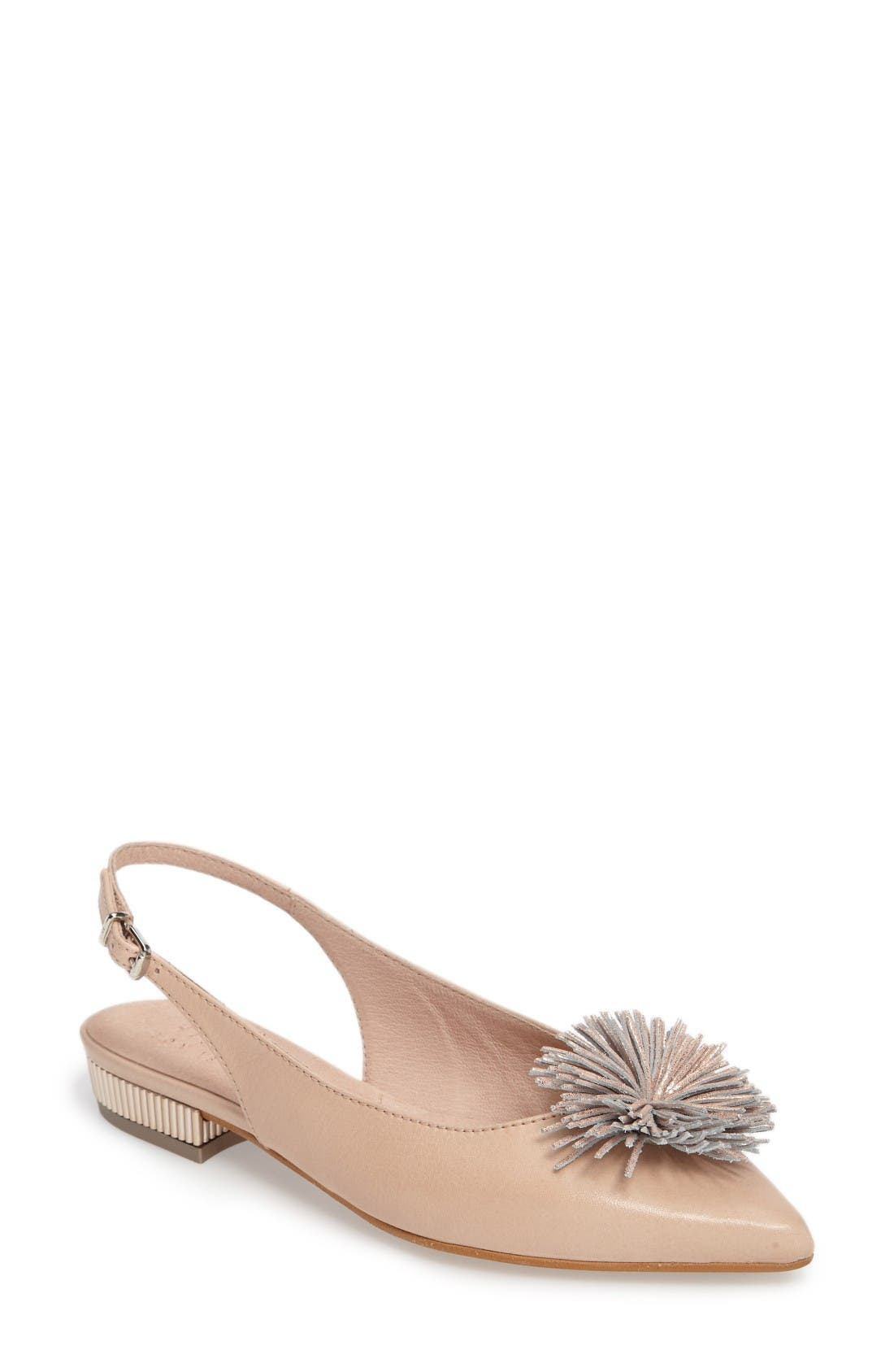 Freya Pompom Slingback Flat,                             Main thumbnail 1, color,                             Soho Ecru Leather