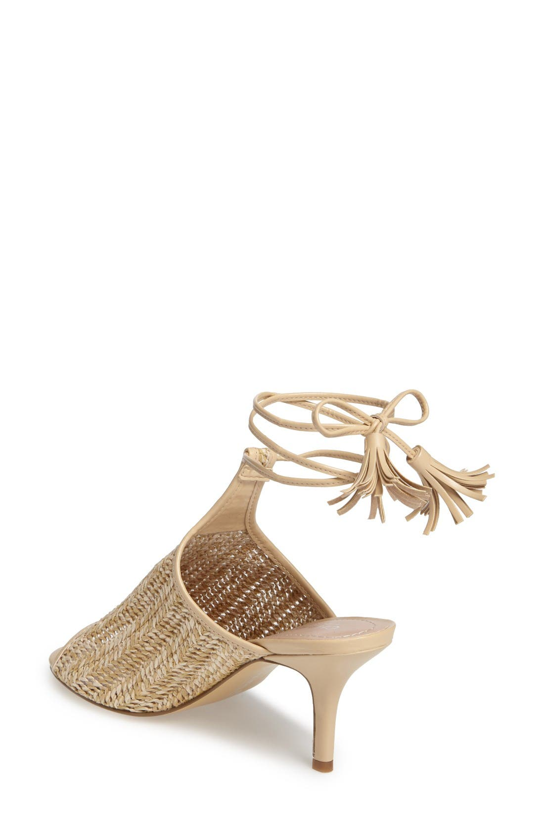 Niko Ankle Tie Sandal,                             Alternate thumbnail 2, color,                             Natural Basket Woven Fabric