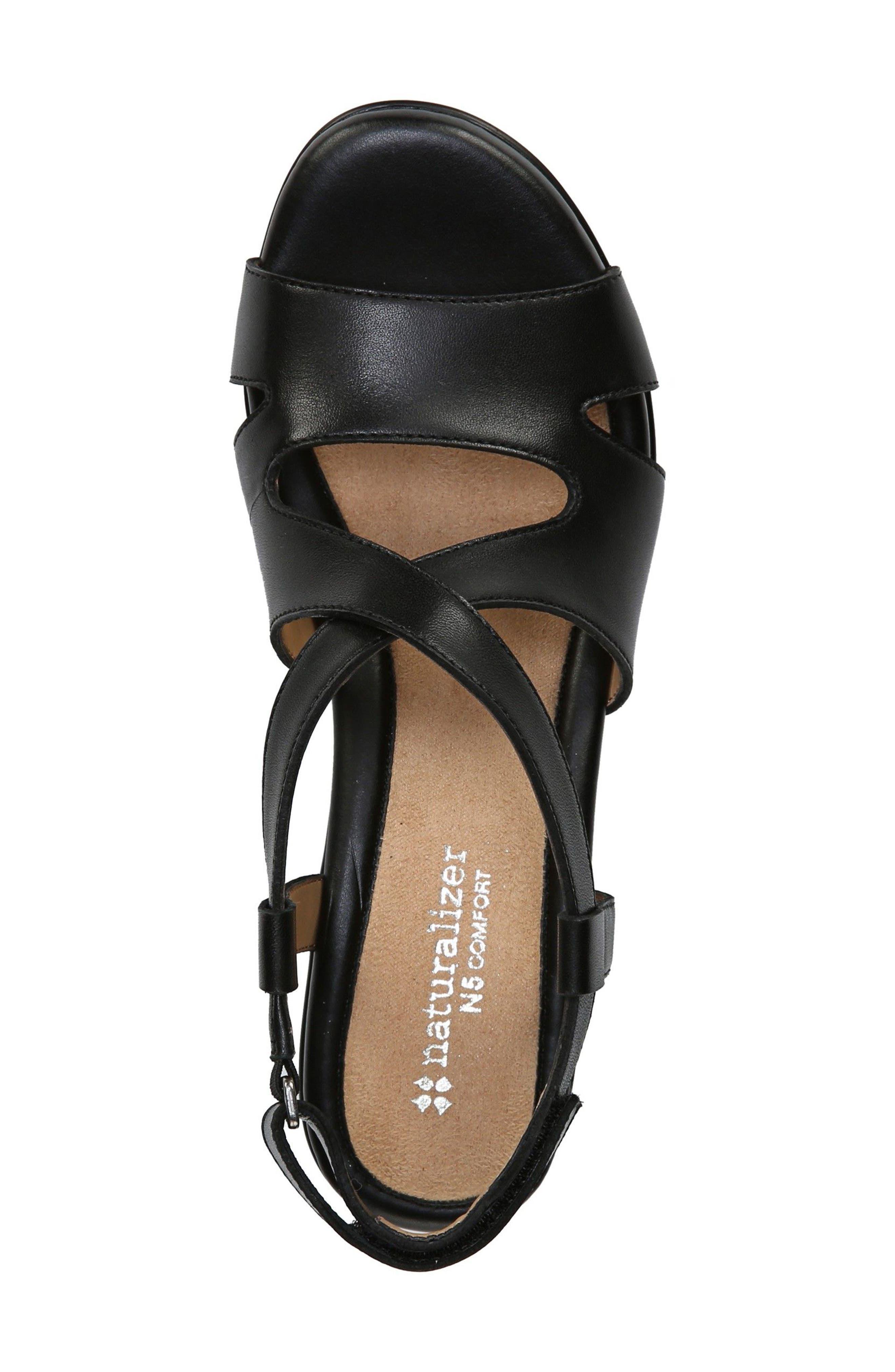 Vilette Wedge Sandal,                             Alternate thumbnail 3, color,                             Black Leather