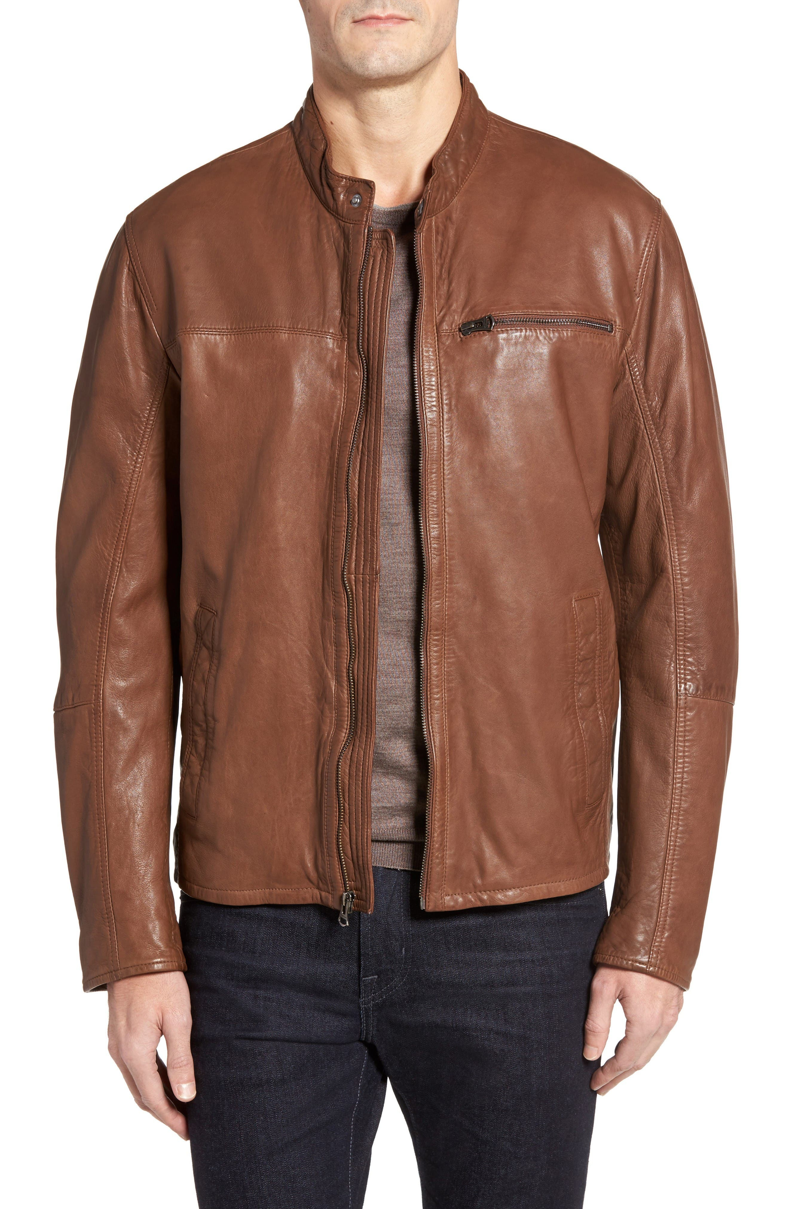 Cole Haan Washed Lamb Leather Moto Jacket