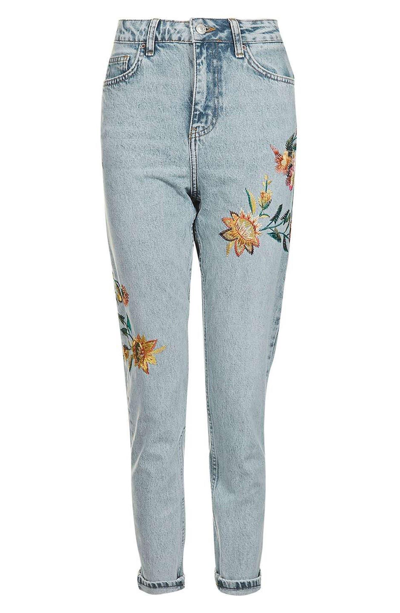 Alternate Image 4  - Topshop Mom Embroidered Jeans