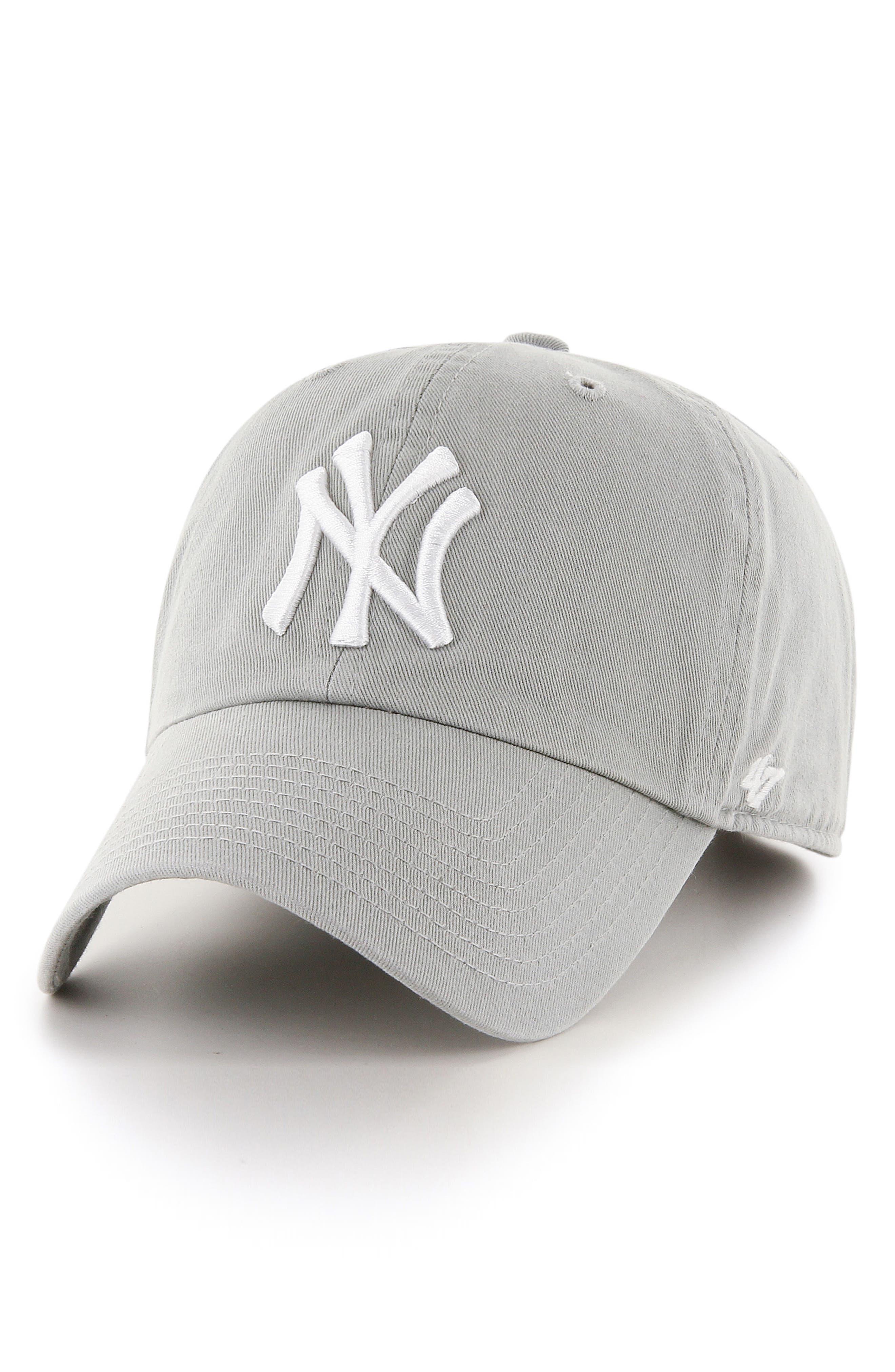 Clean Up NY Yankees Baseball Cap,                             Main thumbnail 1, color,                             Gray