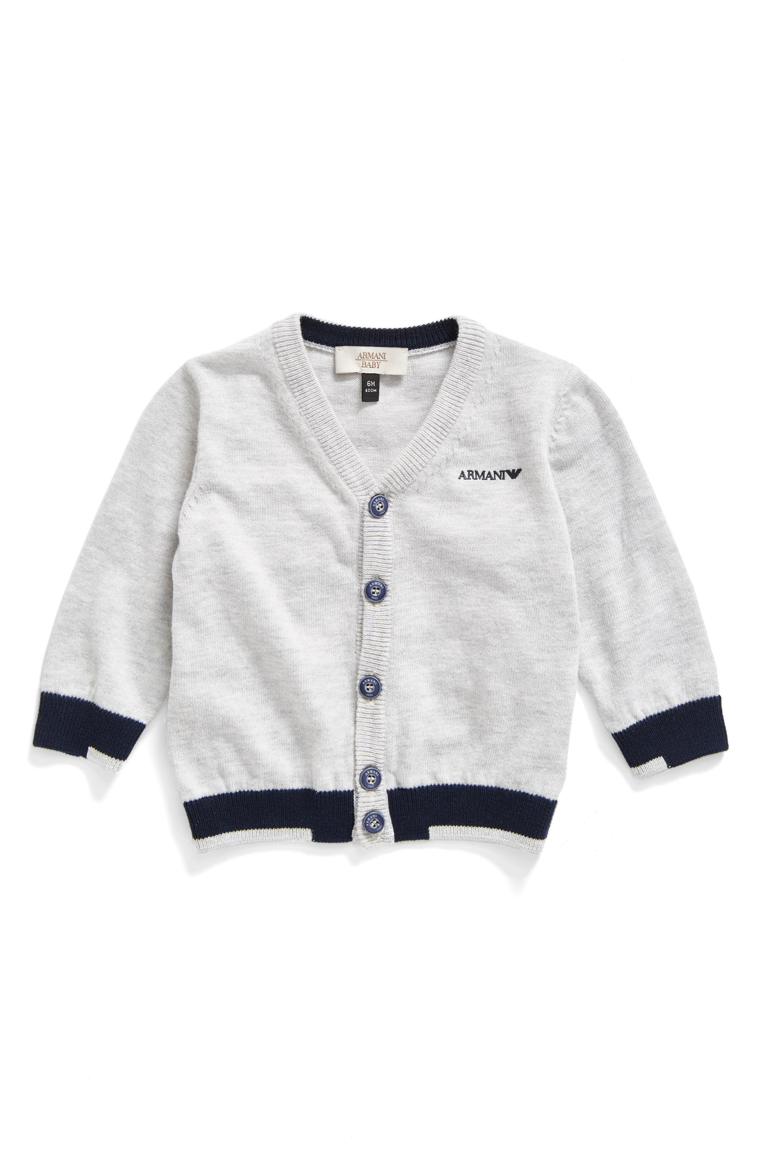 Alternate Image 1 Selected - Armani Junior Colorblock Cardigan (Baby Boys)