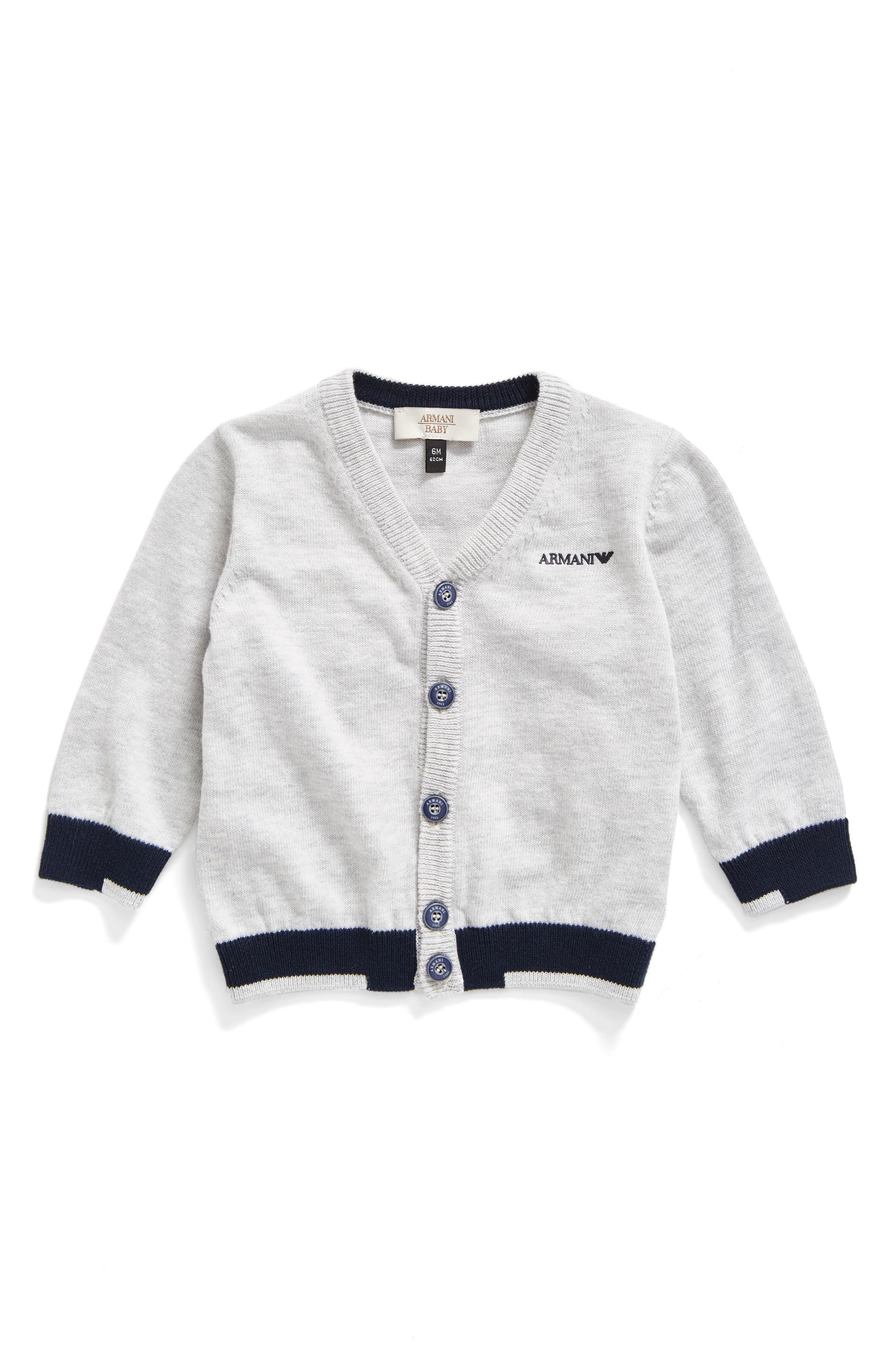 Main Image - Armani Junior Colorblock Cardigan (Baby Boys)
