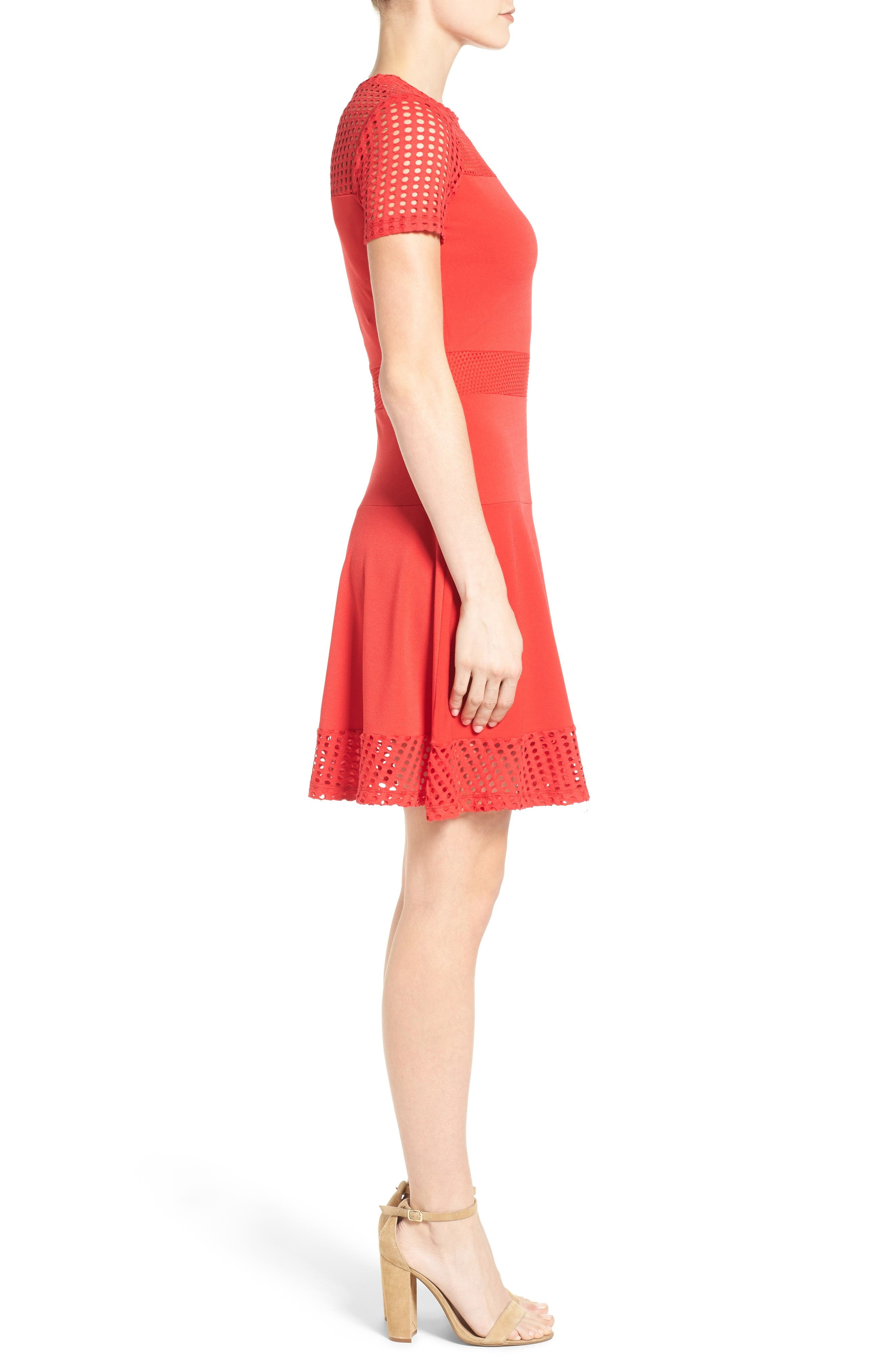 Mesh Combo Fit & Flare Dress,                             Alternate thumbnail 3, color,                             True Red