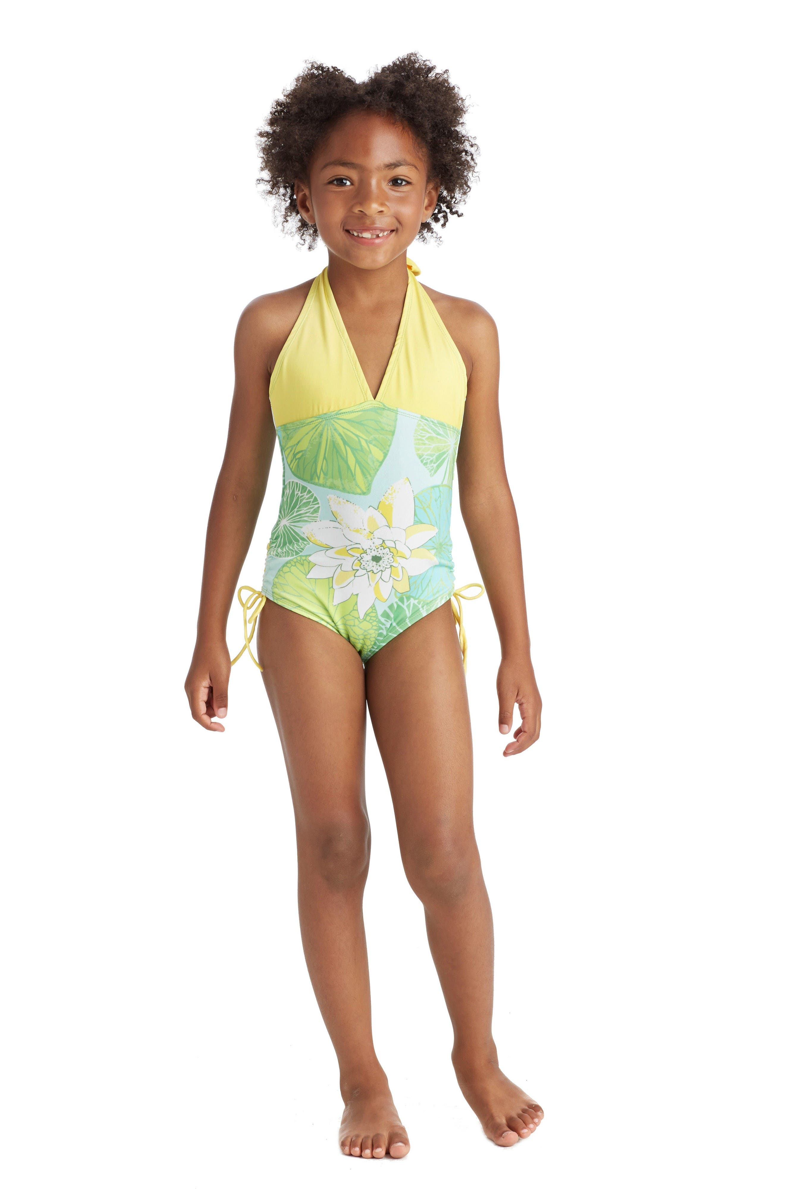 One-Piece Halter Swimsuit,                             Alternate thumbnail 2, color,                             Green