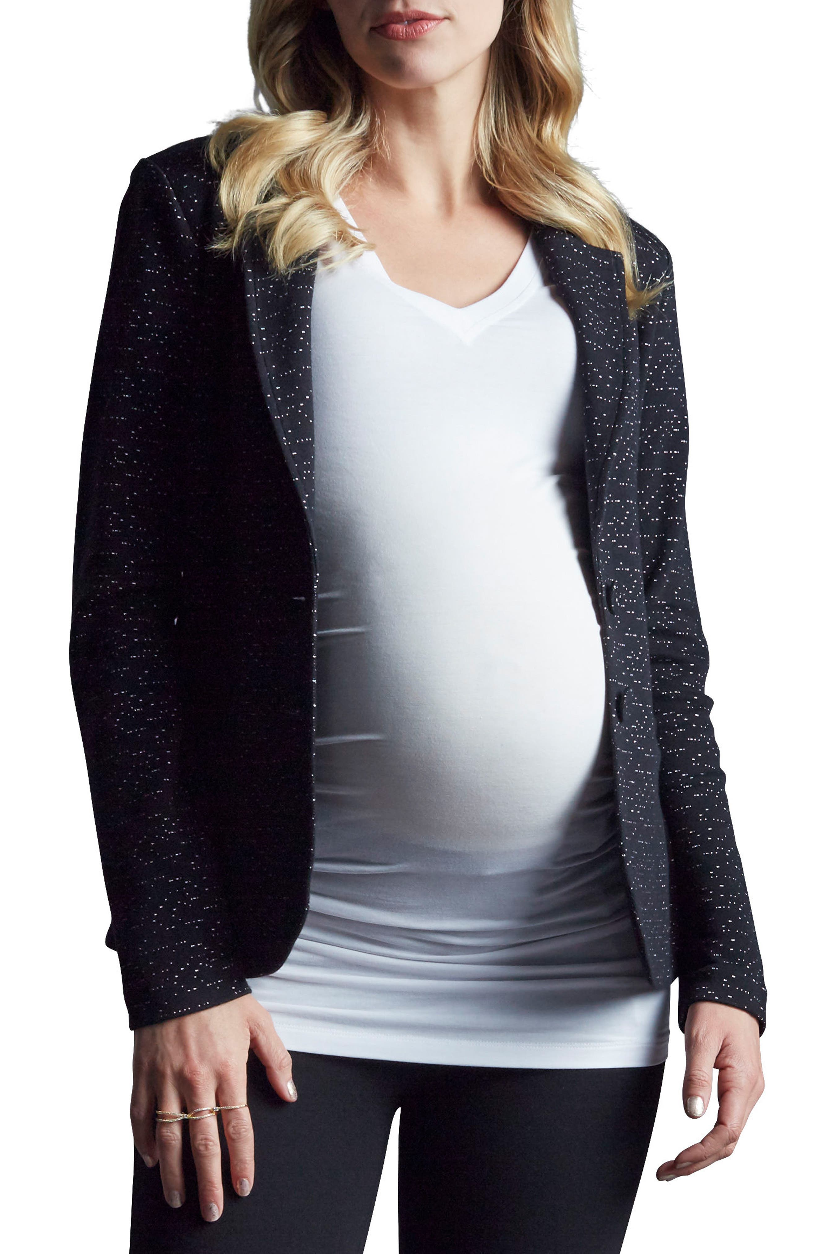 Essential Maternity Blazer,                         Main,                         color, Black Space Dye Speckle