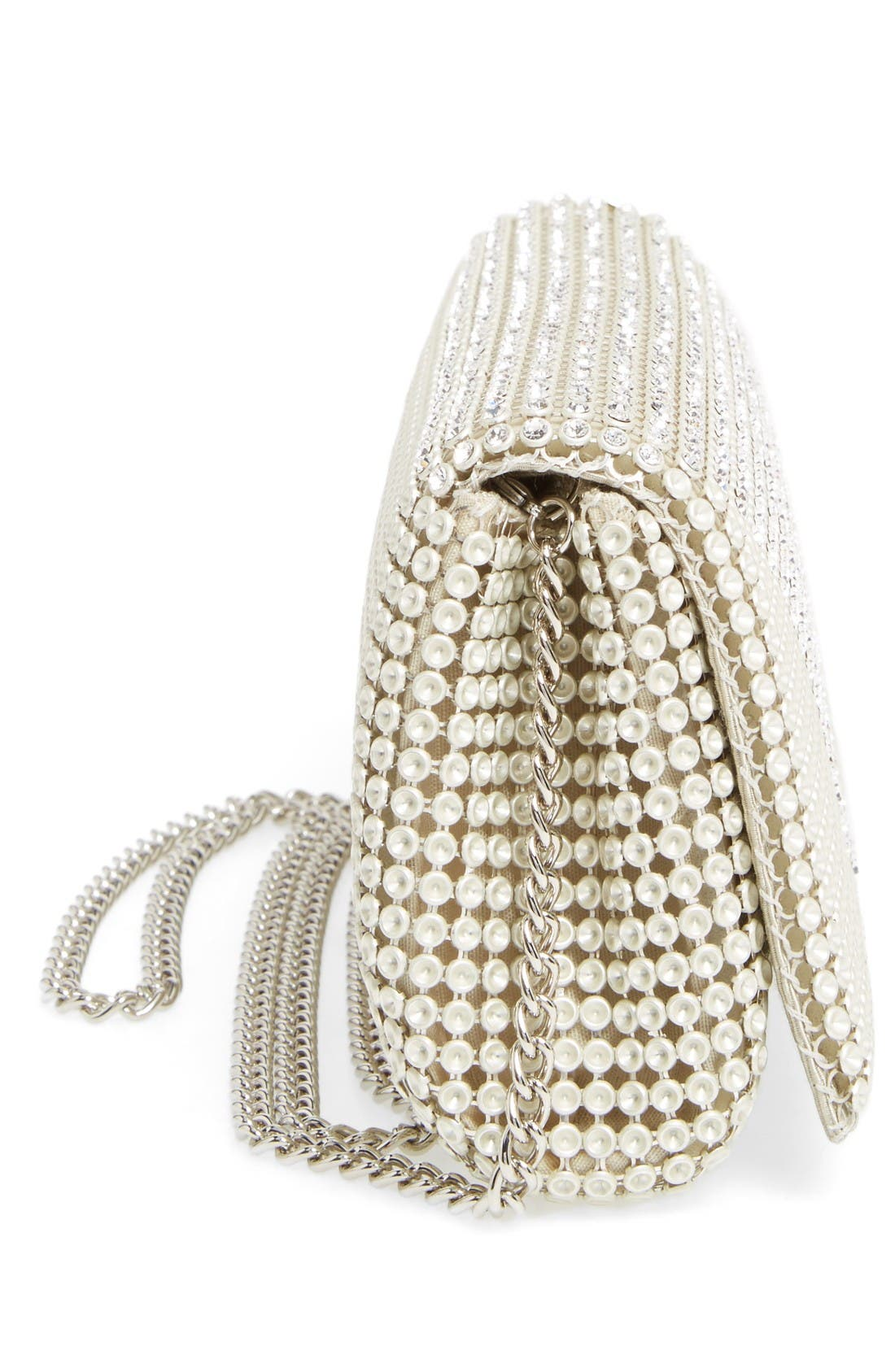 Crystal Triangle Clutch,                             Alternate thumbnail 4, color,                             Pearl