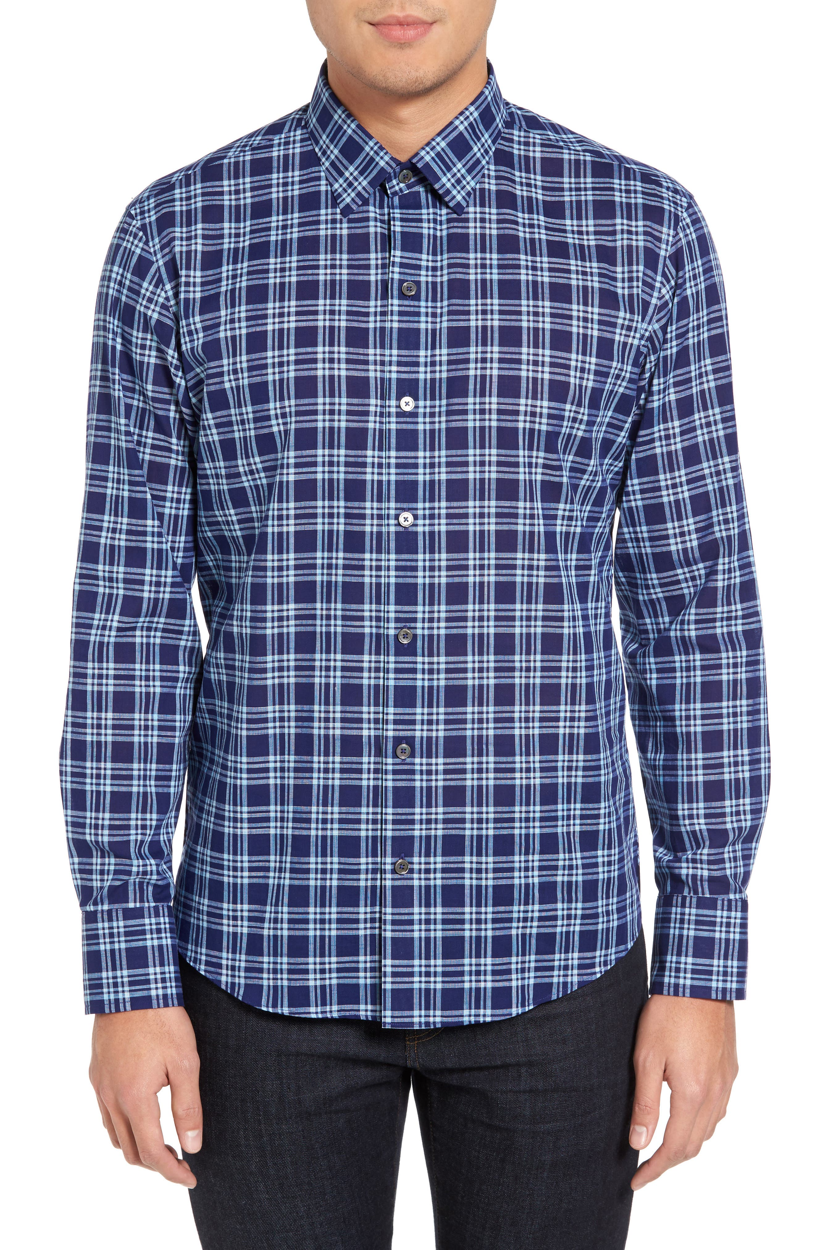 Main Image - Zachary Prell Leventhal Trim Fit Plaid Sport Shirt