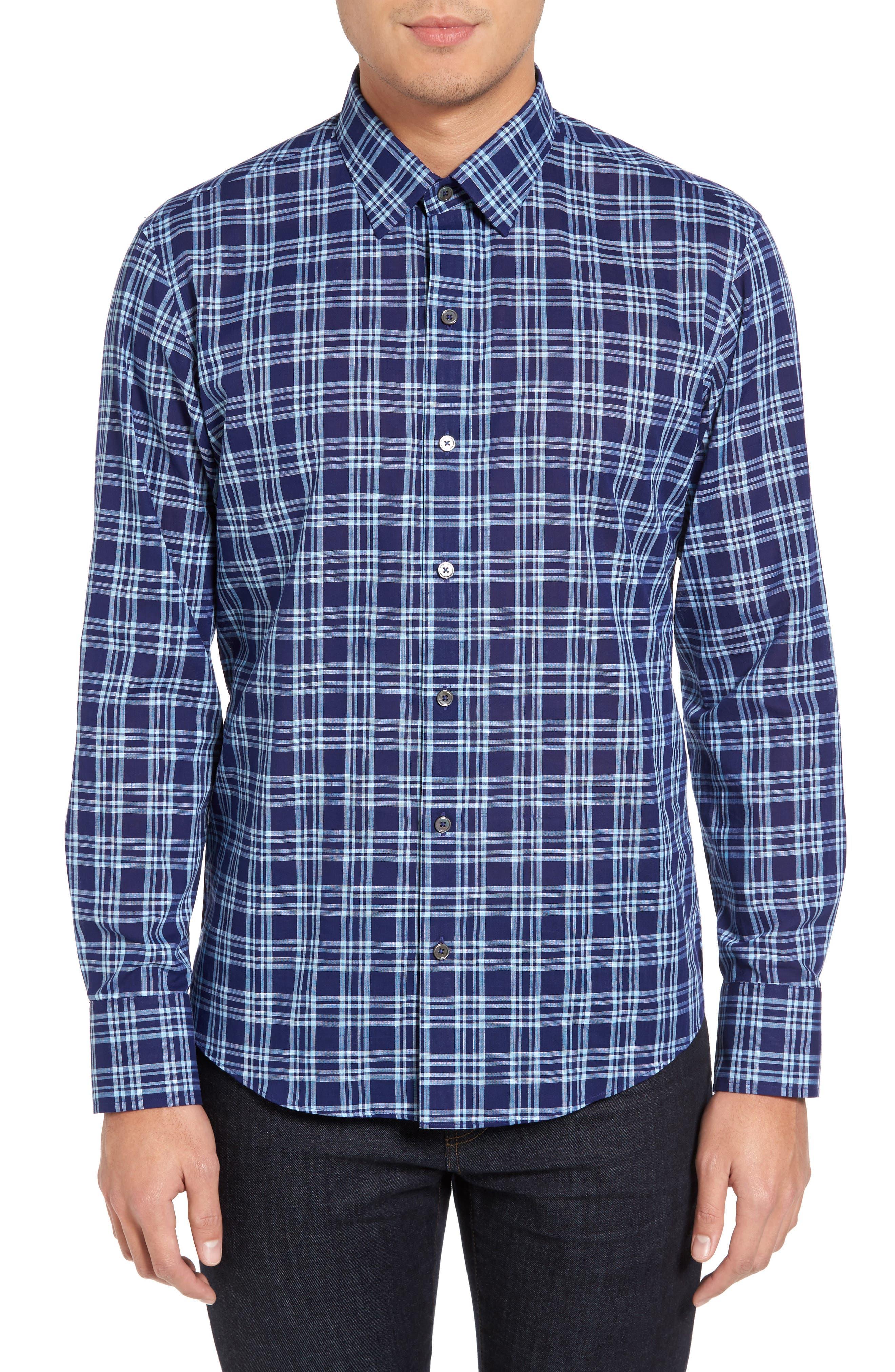 Leventhal Trim Fit Plaid Sport Shirt,                         Main,                         color, Pacific