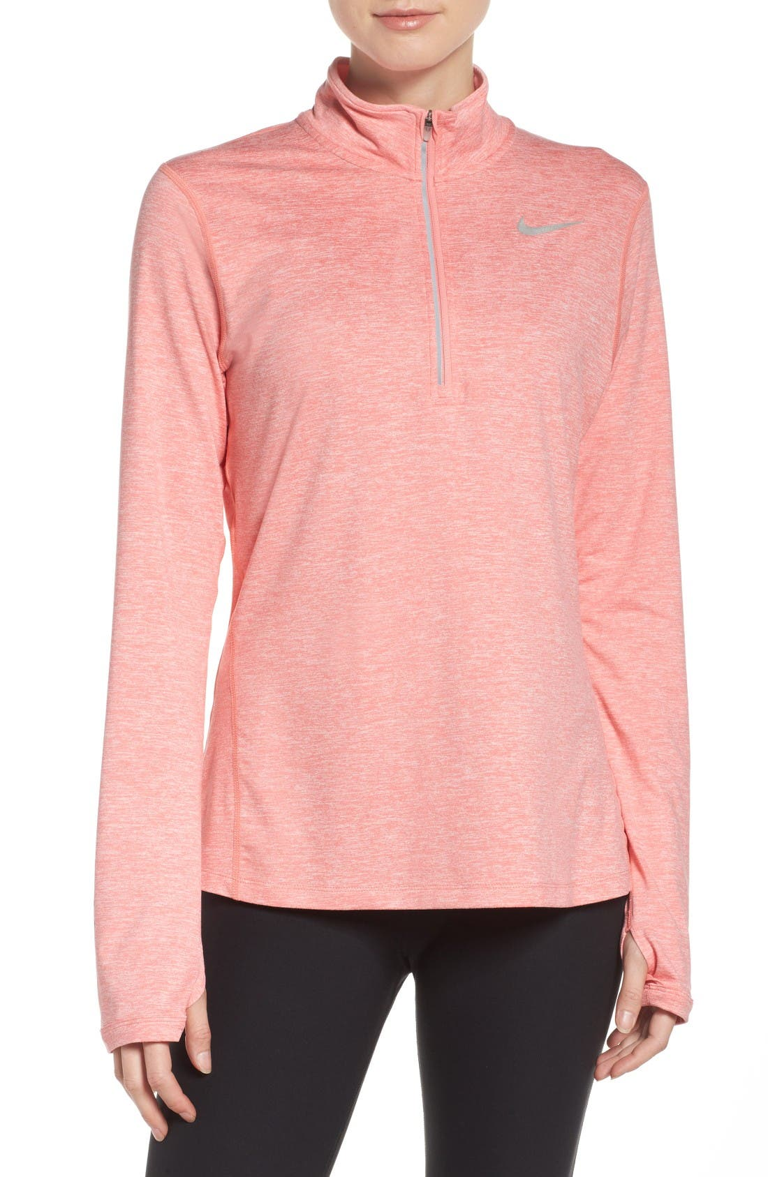 'Element' Dri-FIT Half Zip Performance Top,                             Main thumbnail 1, color,                             Bright Melon/ Heather/ Melon