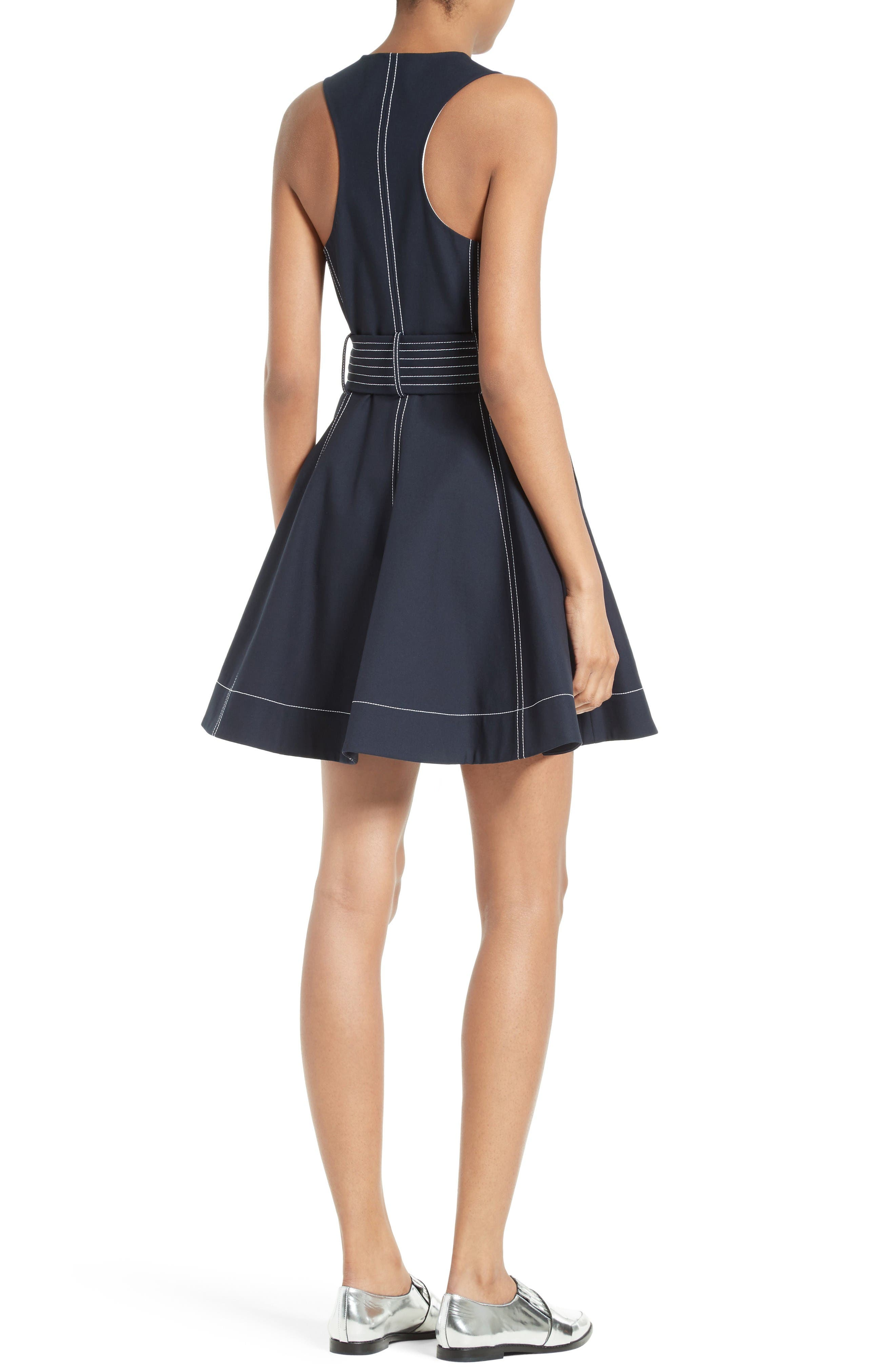 Fit & Flare Dress,                             Alternate thumbnail 2, color,                             Alexander Navy