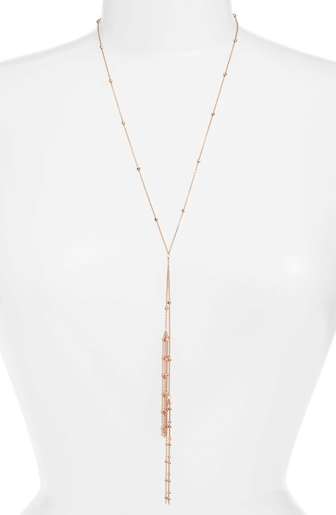 Tassel Y-Necklace,                         Main,                         color, Rose Gold