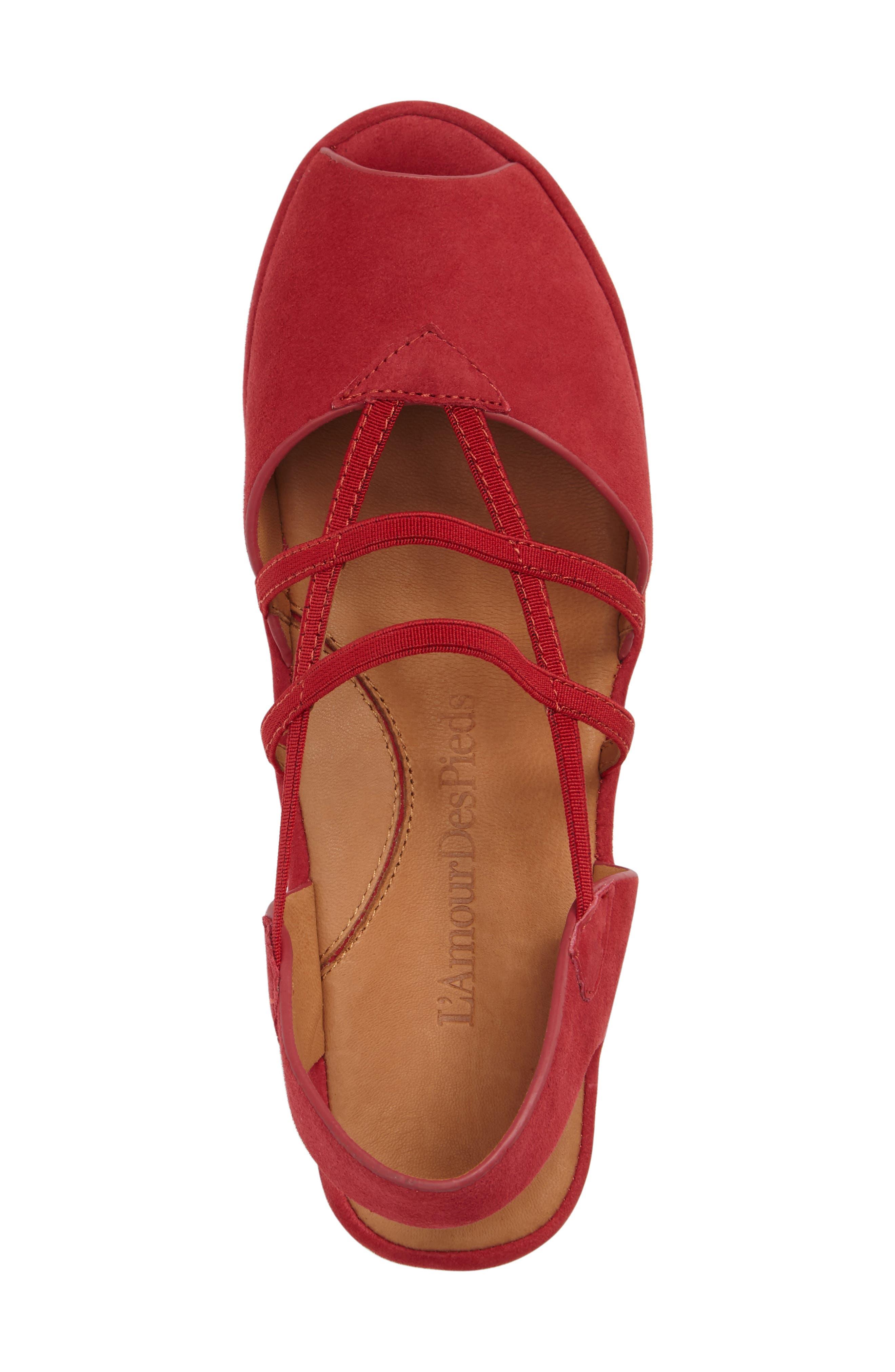 Adelais Platform Wedge Sandal,                             Alternate thumbnail 3, color,                             Red Nubuck Leather