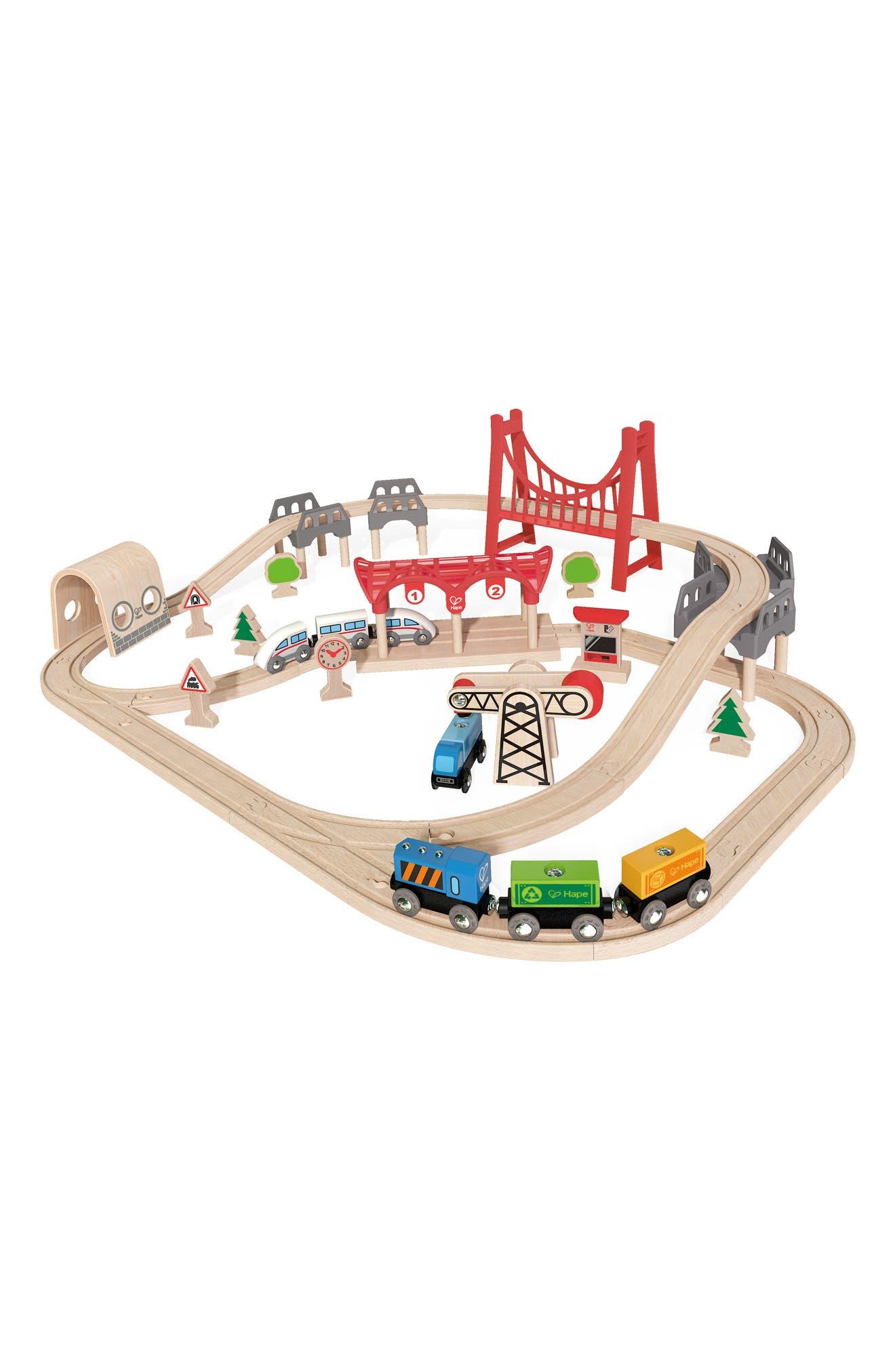 Double Loop Railway Wooden Train Set,                             Main thumbnail 1, color,                             Multi