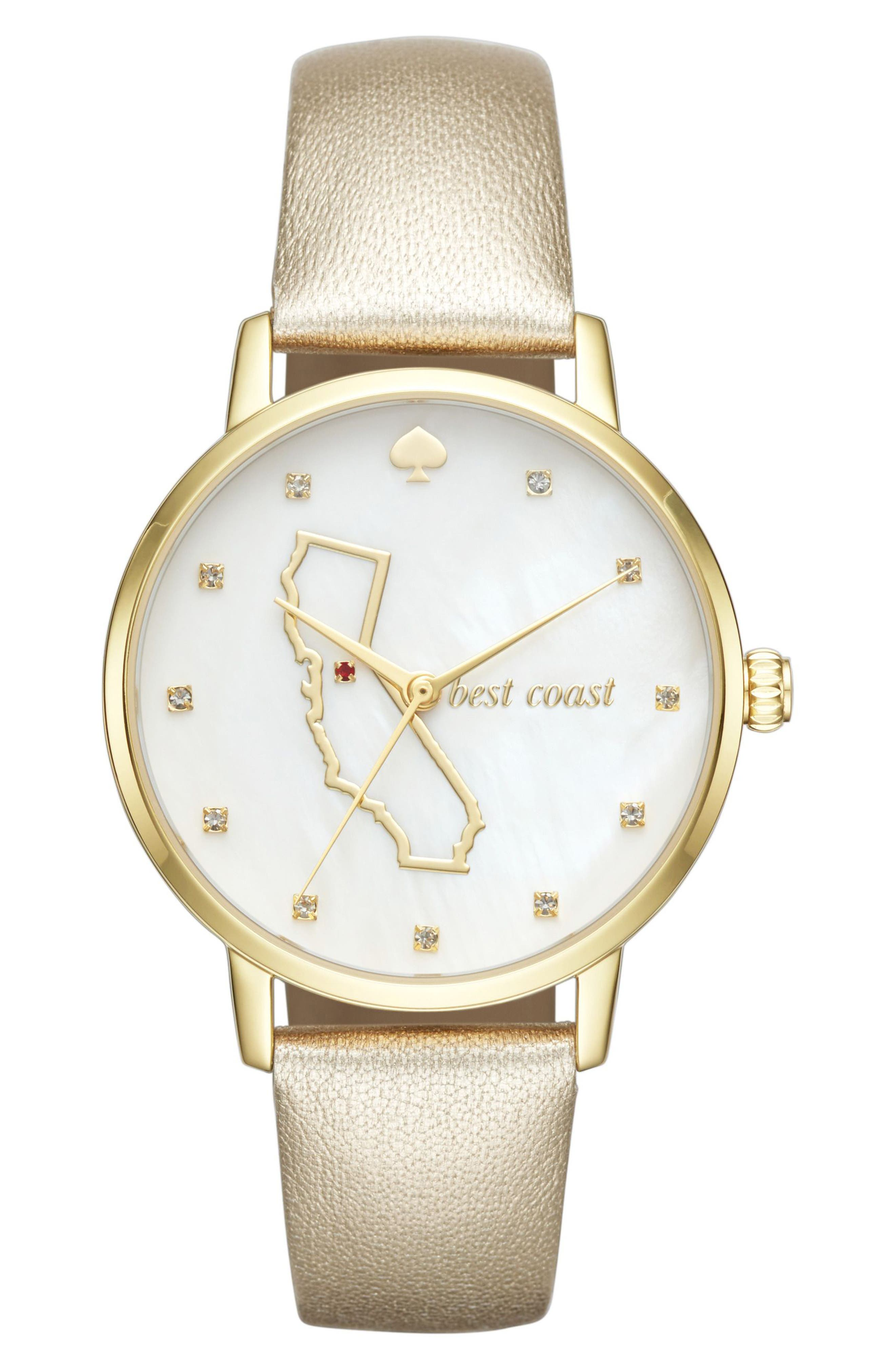 KATE SPADE NEW YORK metro california state of mind leather strap watch, 34mm