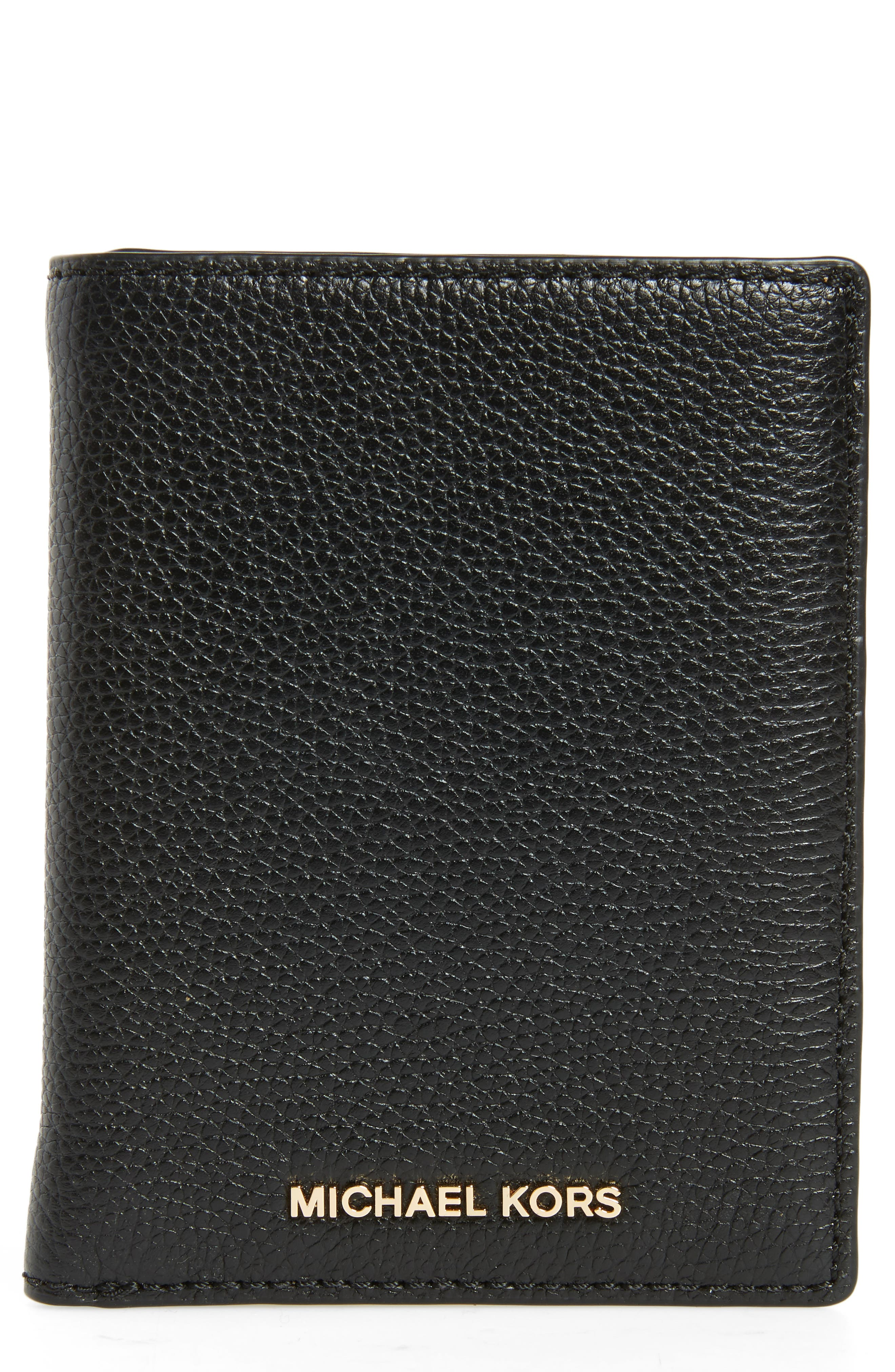 Mercer Passport Wallet,                             Main thumbnail 1, color,                             Black/ Gold