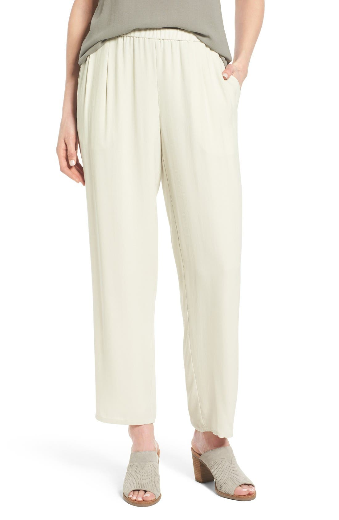 Main Image - Eileen Fisher Silk Georgette Crepe Straight Ankle Pants (Regular & Petite)