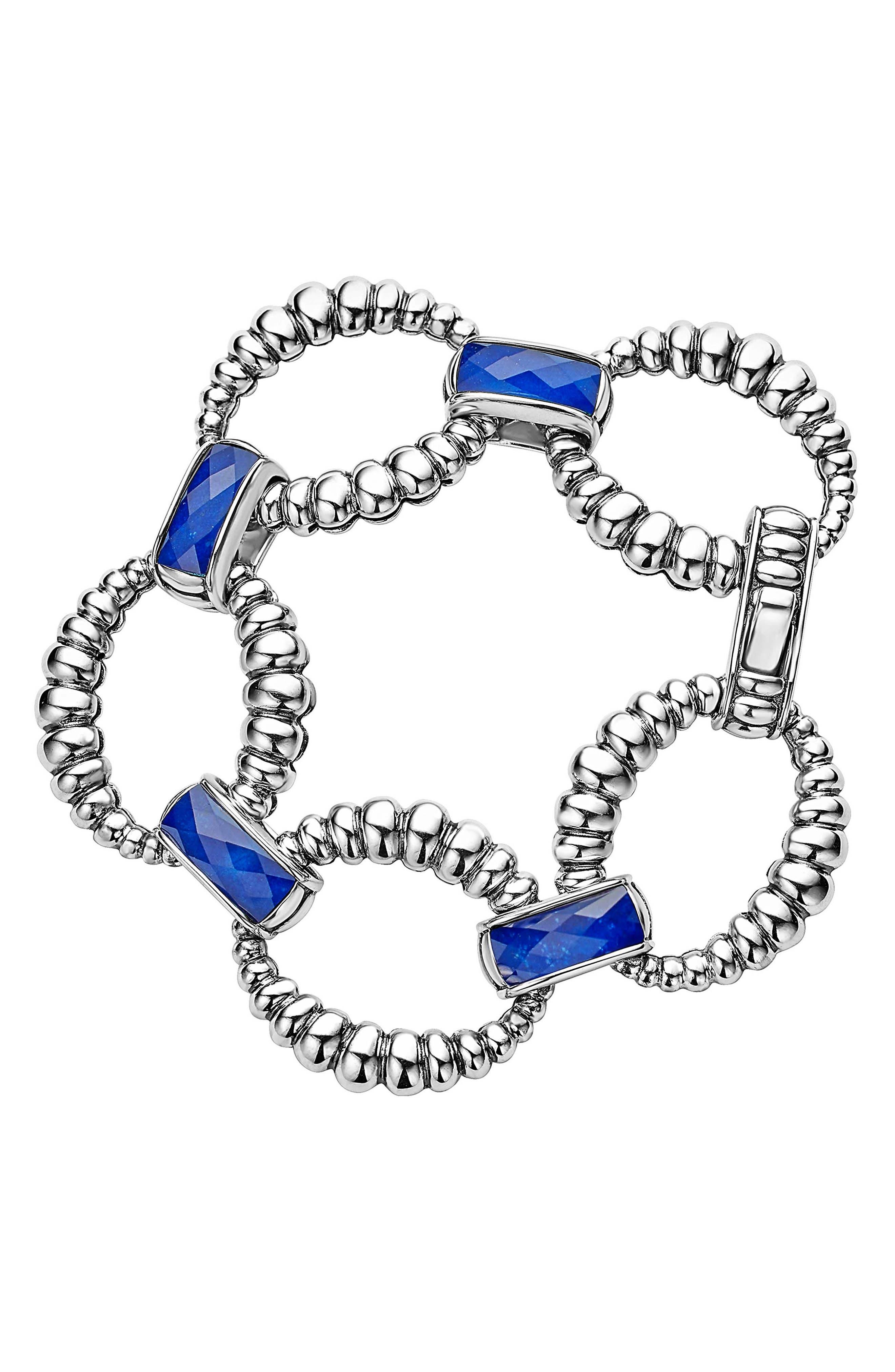 Maya Fluted Link Bracelet,                         Main,                         color, Lapis