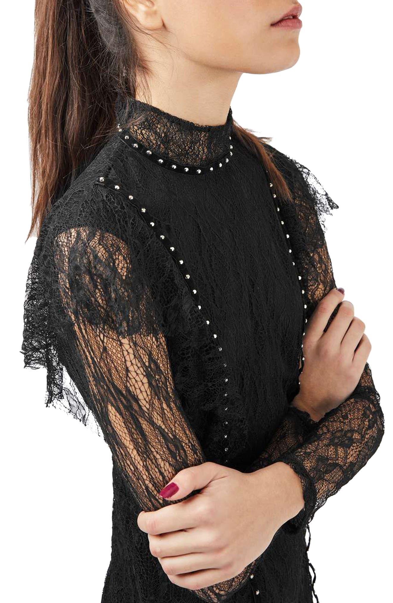 Alternate Image 4  - Topshop Stud Ruffle Lace Dress