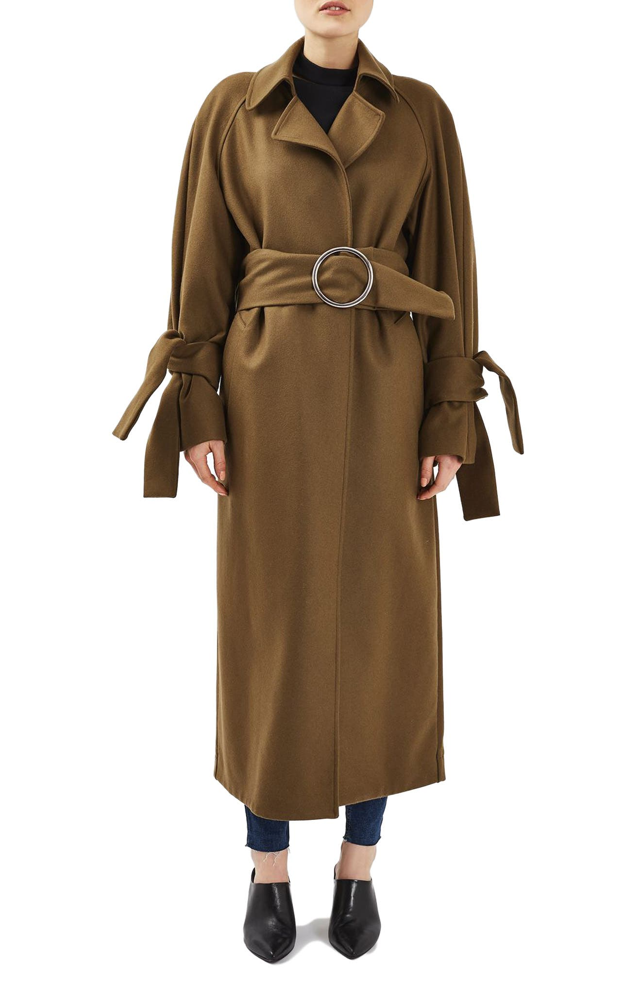 Main Image - Topshop Boutique Tie Sleeve Wool Coat