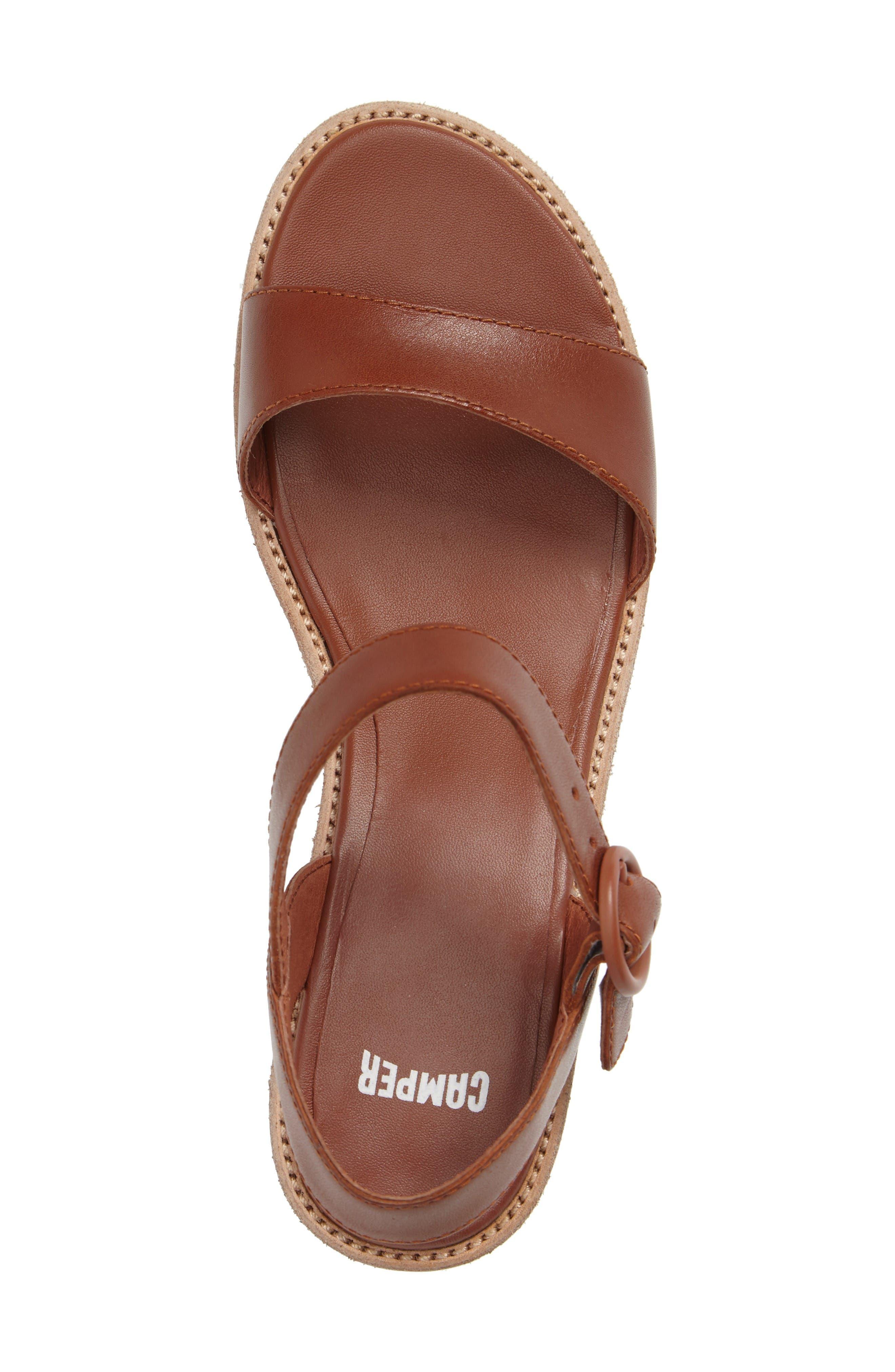 'Damas' Wedge Sandal,                             Alternate thumbnail 3, color,                             Brown Leather