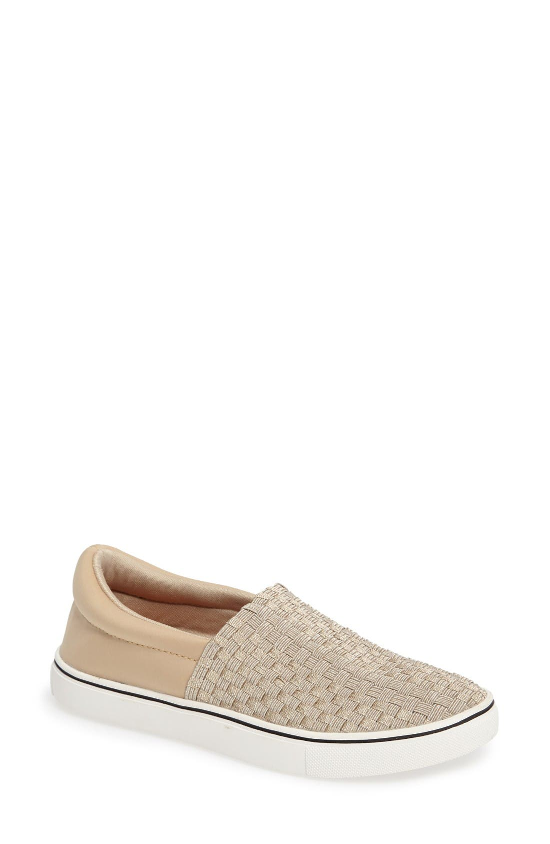 Ofelia Woven Elastic Sneaker,                         Main,                         color, Light Gold Fabric