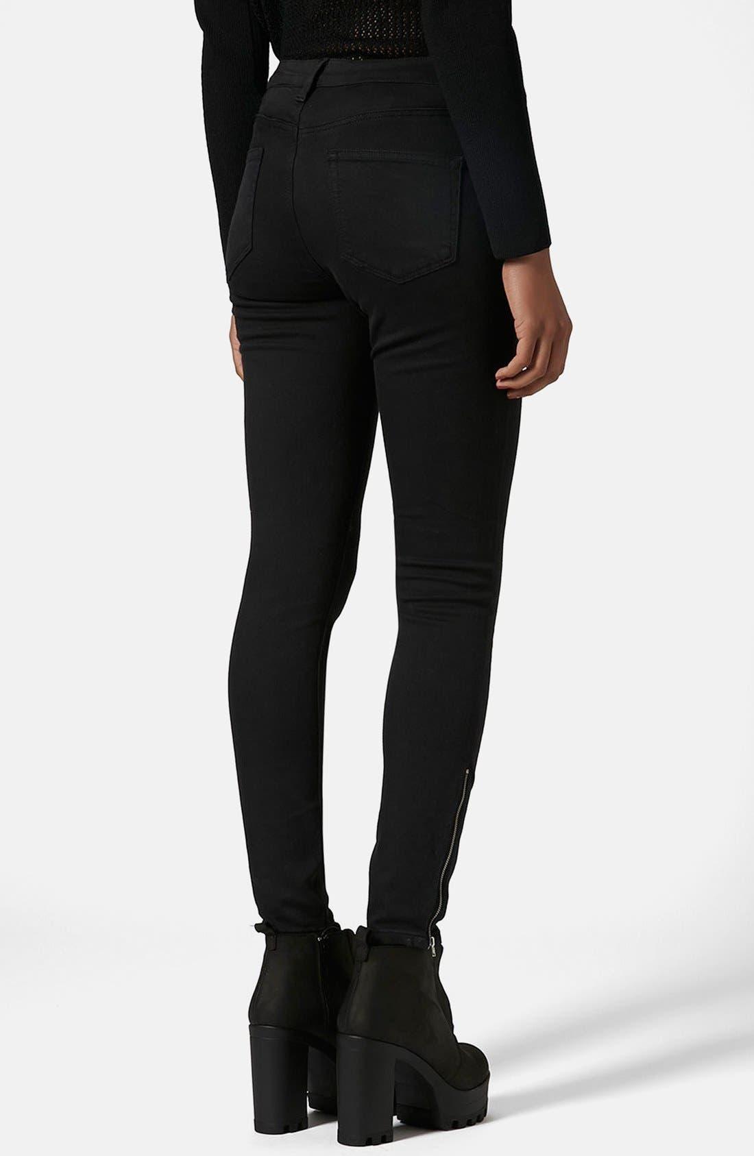 Alternate Image 2  - Topshop Moto 'Jamie' Ankle Zip Skinny Jeans (Black) (Regular & Short)
