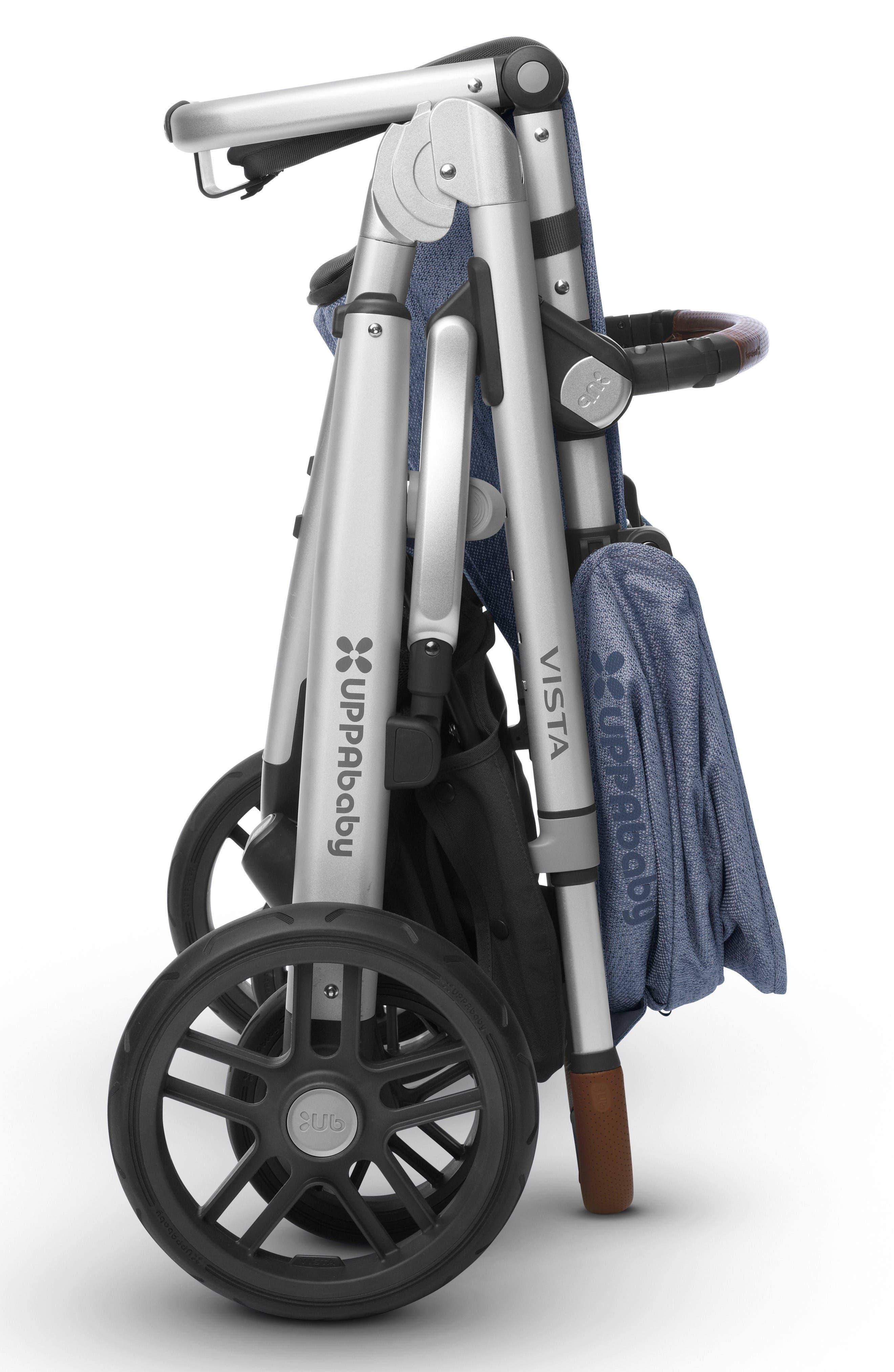 2017 VISTA Henry Aluminum Frame Convertible Stroller with Bassinet & Toddler Seat,                             Alternate thumbnail 4, color,                             Blue Marl
