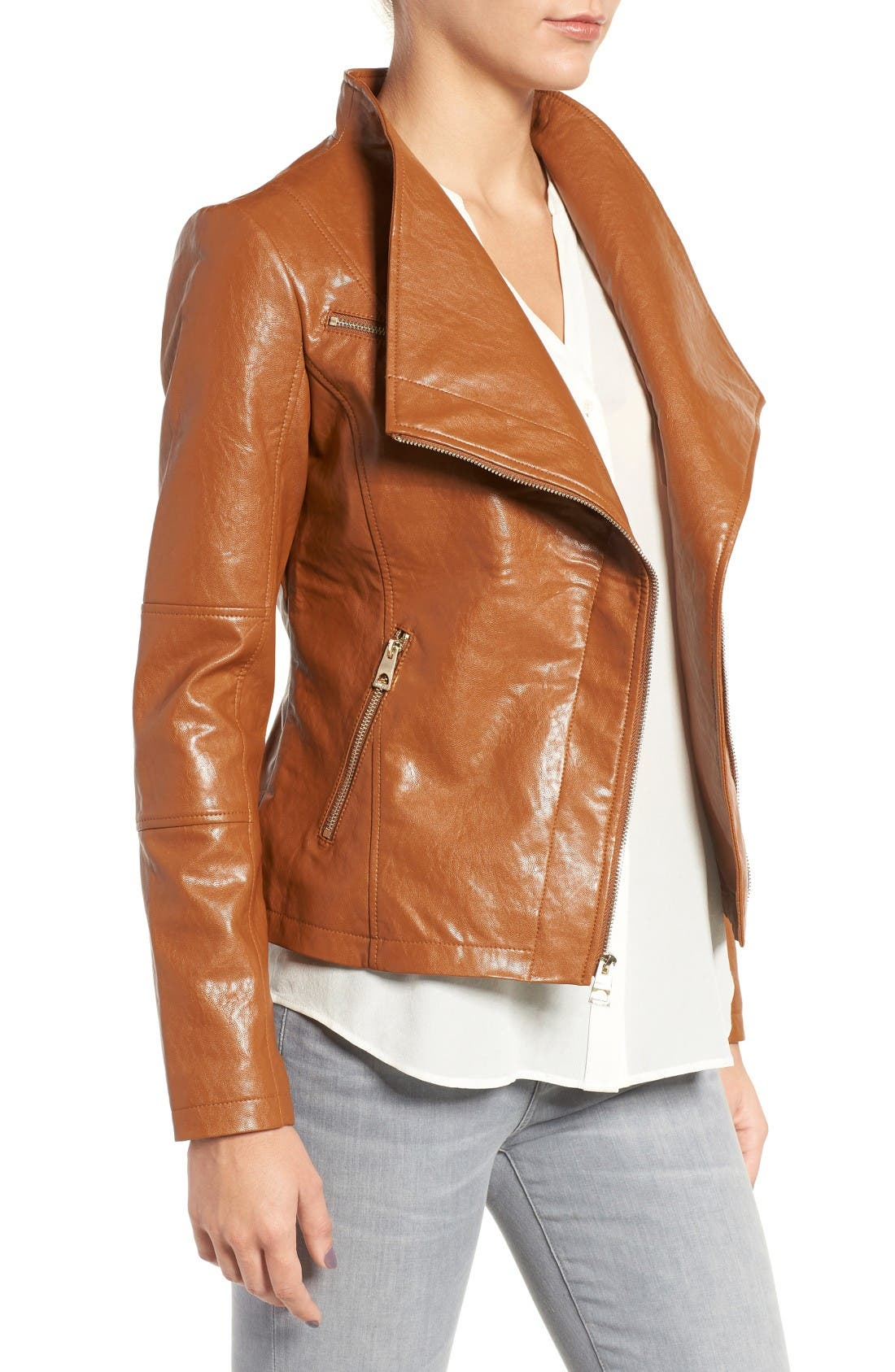 Alternate Image 3  - GUESS Asymmetrical Faux Leather Jacket