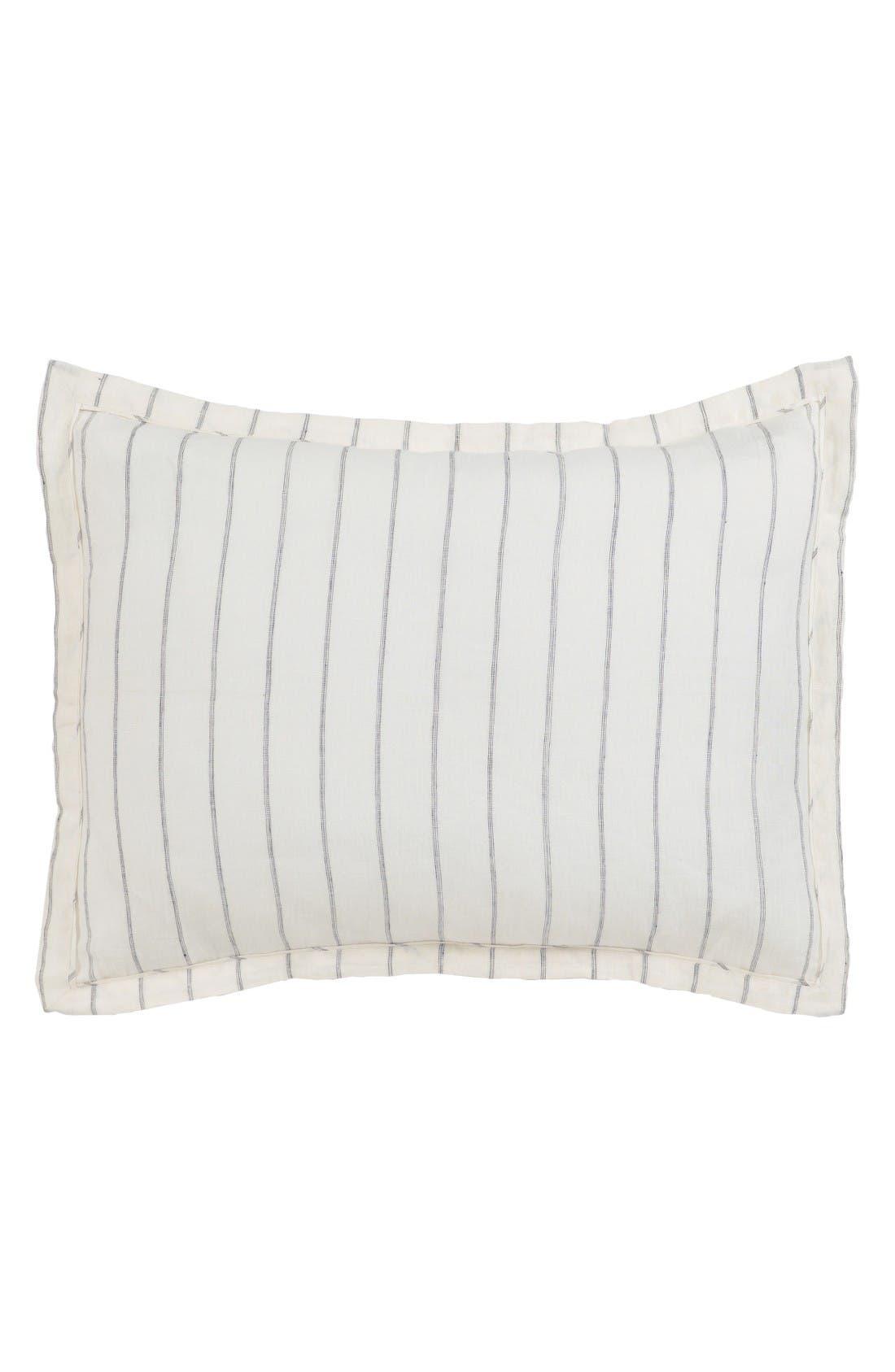 Pinstripe Linen Standard Sham,                             Main thumbnail 1, color,                             Ivory/ Charcoal
