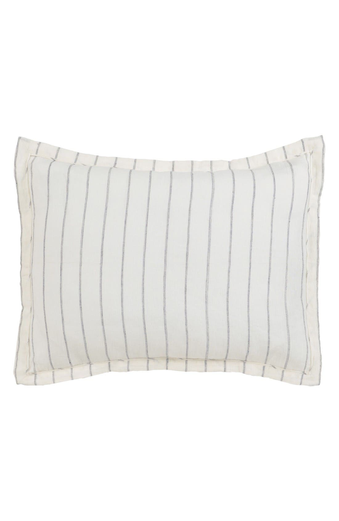 Pinstripe Linen Standard Sham,                         Main,                         color, Ivory/ Charcoal