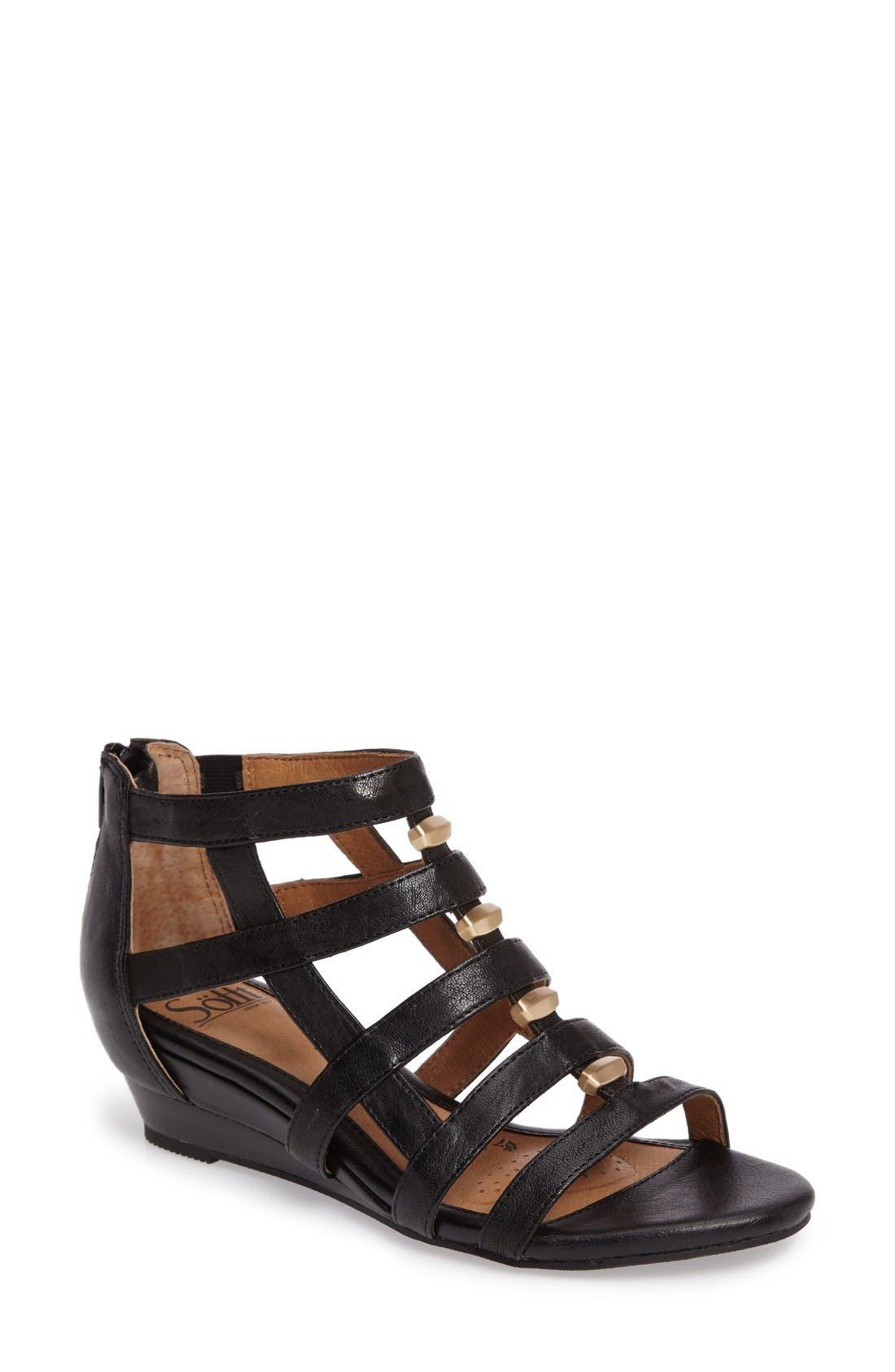 Rio Gladiator Wedge Sandal,                             Main thumbnail 1, color,                             Black Leather