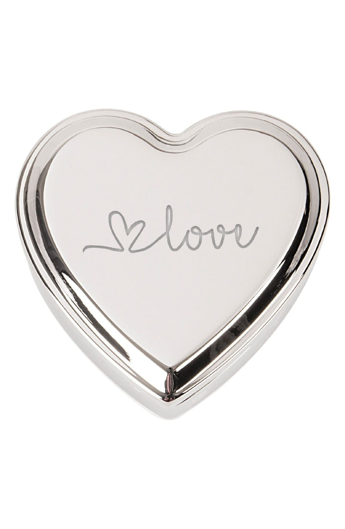 Cathys Concepts Love Heart Keepsake Box,                             Main thumbnail 1, color,                             Silver
