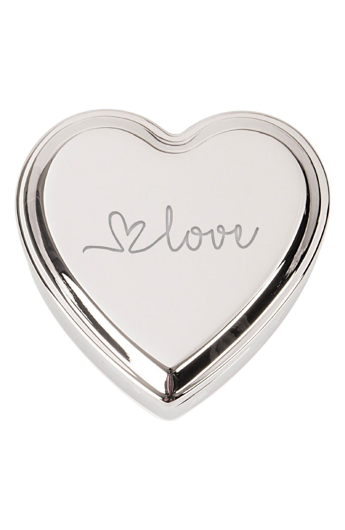 Love Heart Keepsake Box,                         Main,                         color, Silver