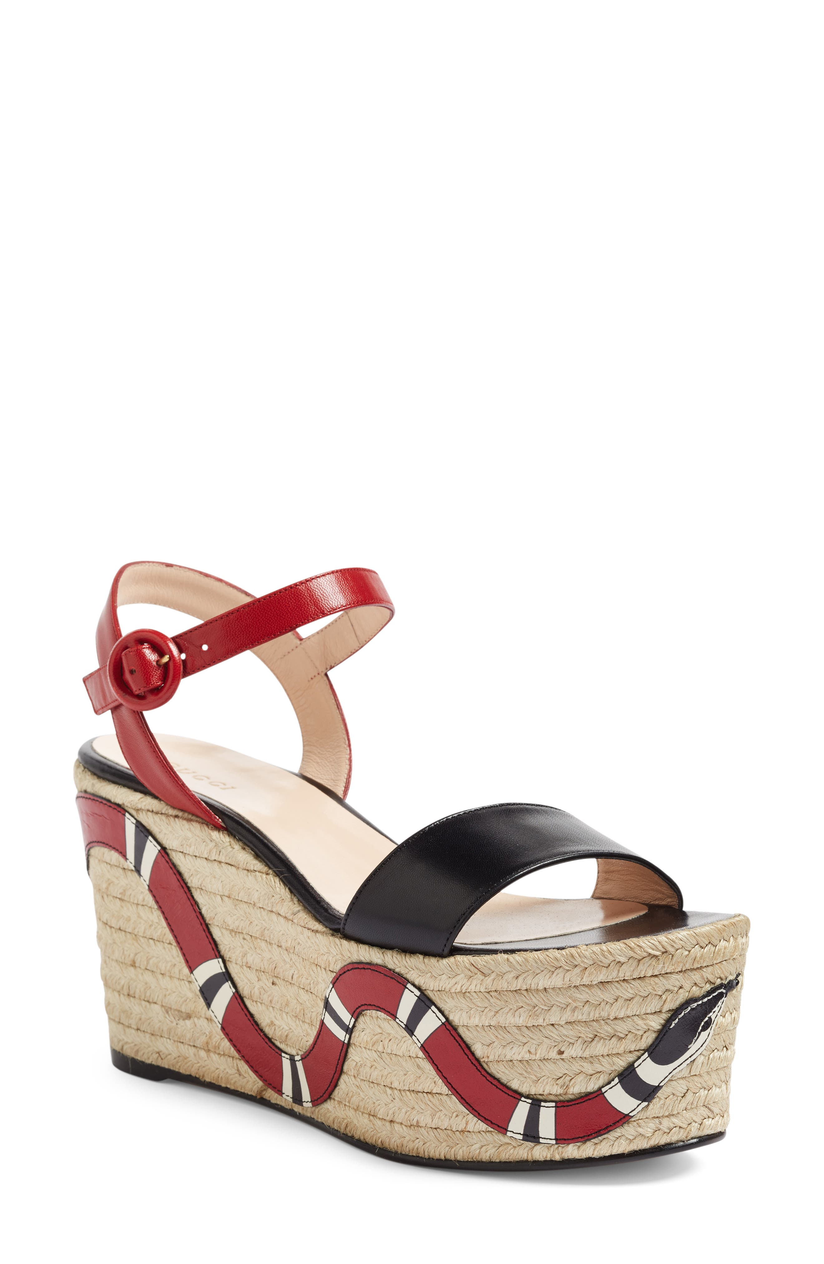 Main Image - Gucci Barbette Espadrille Wedge Sandal (Women)