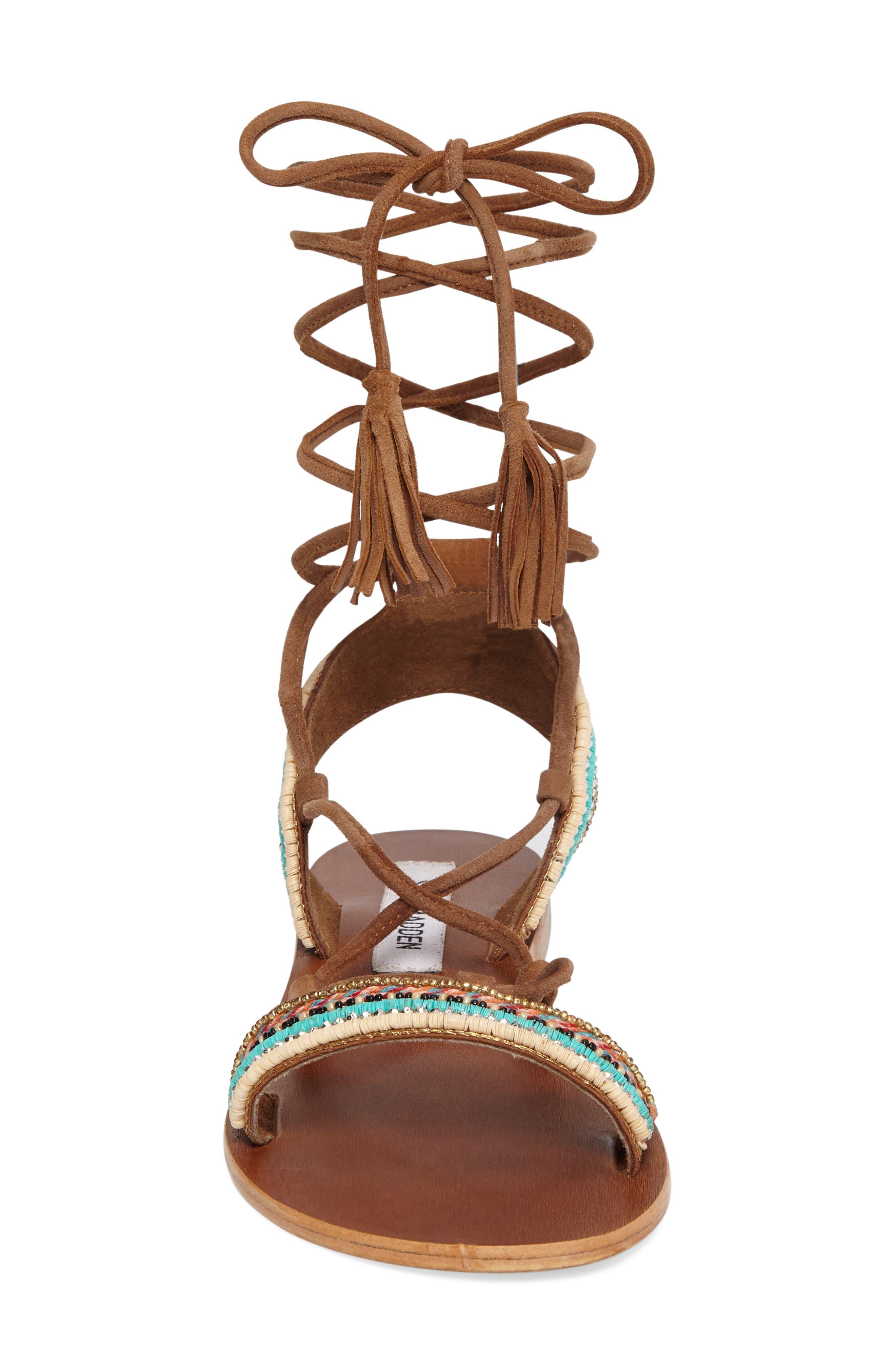 Orva Embellished Ghillie Wrap Sandal,                             Alternate thumbnail 3, color,                             Natural Multi