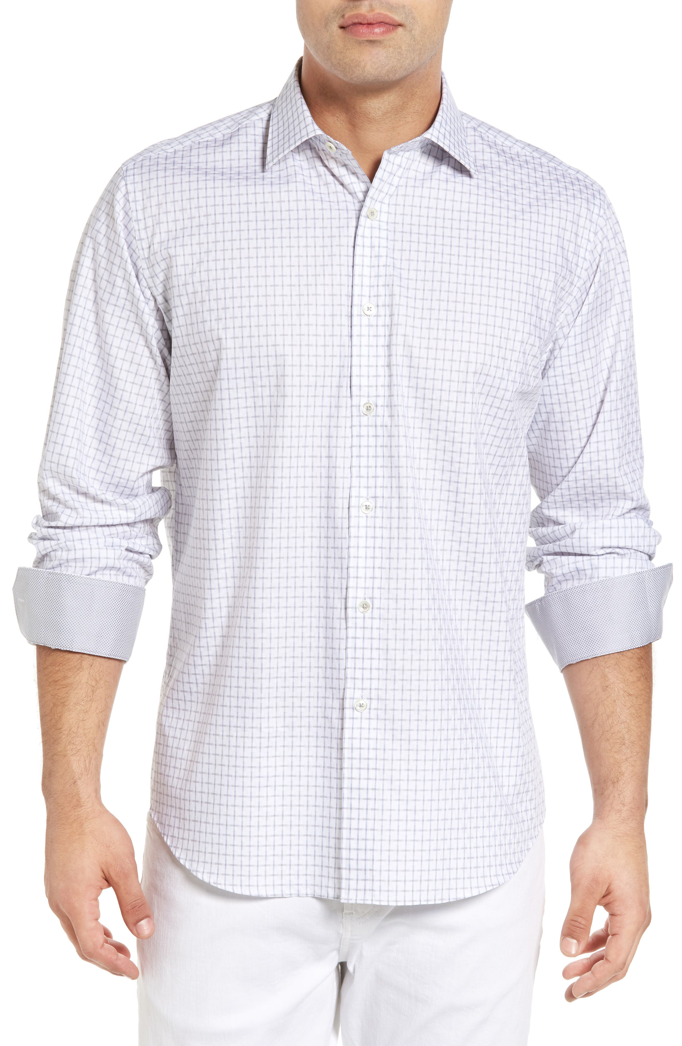 Classic Fit Graphic Sport Shirt,                         Main,                         color, Silver