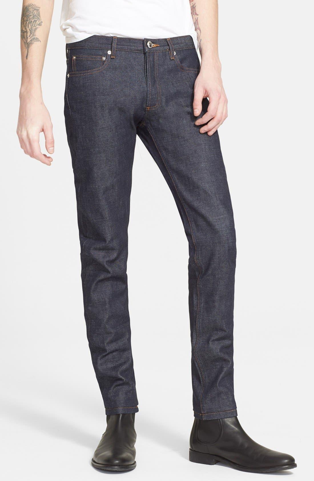 Petit Standard Slim Fit Raw Selvedge Jeans,                         Main,                         color, Indigo Wash